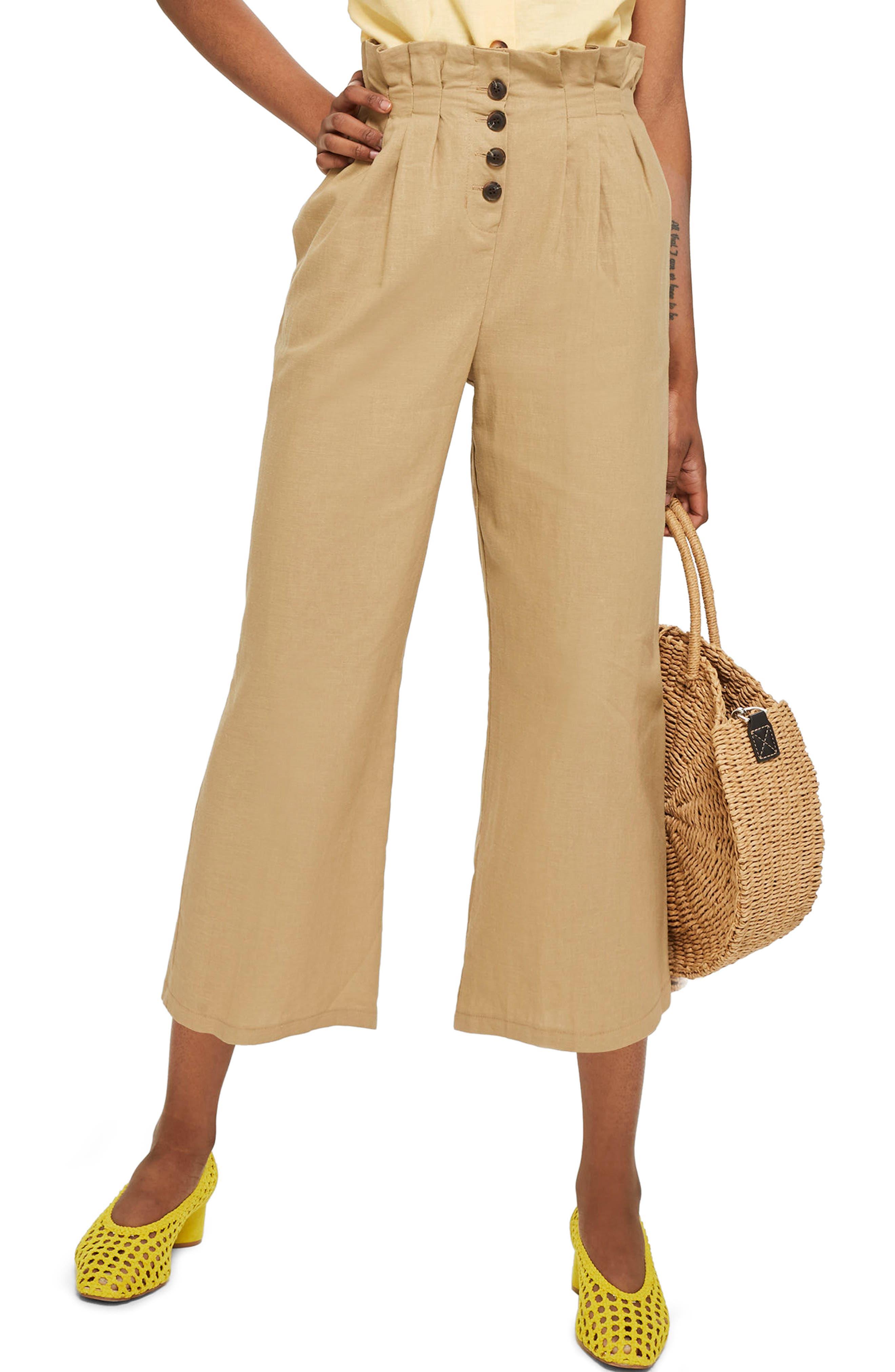Button Wide Leg Crop Trousers,                         Main,                         color, Stone