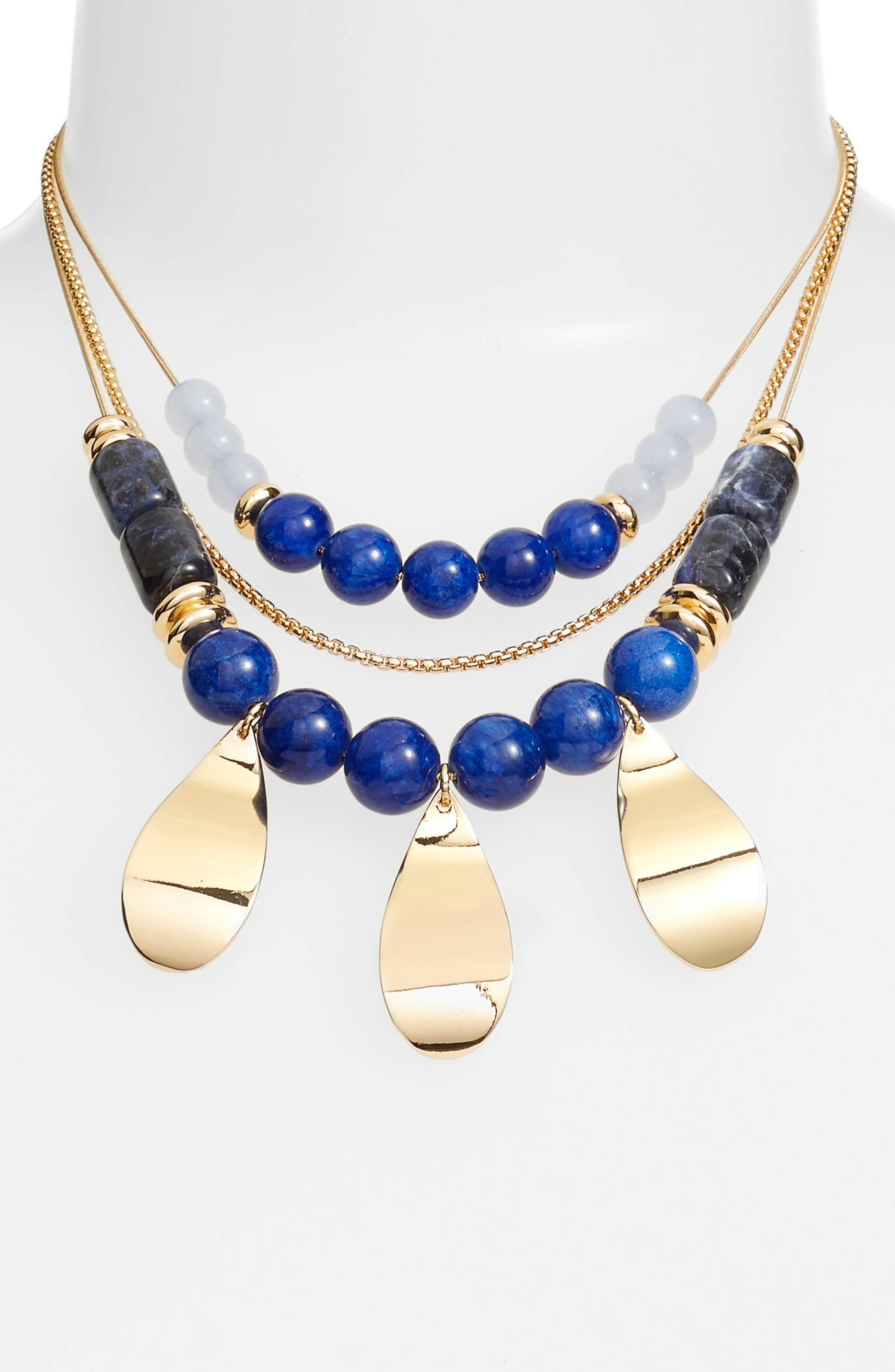 Layered Statement Necklace,                             Alternate thumbnail 2, color,                             Blue- Gold