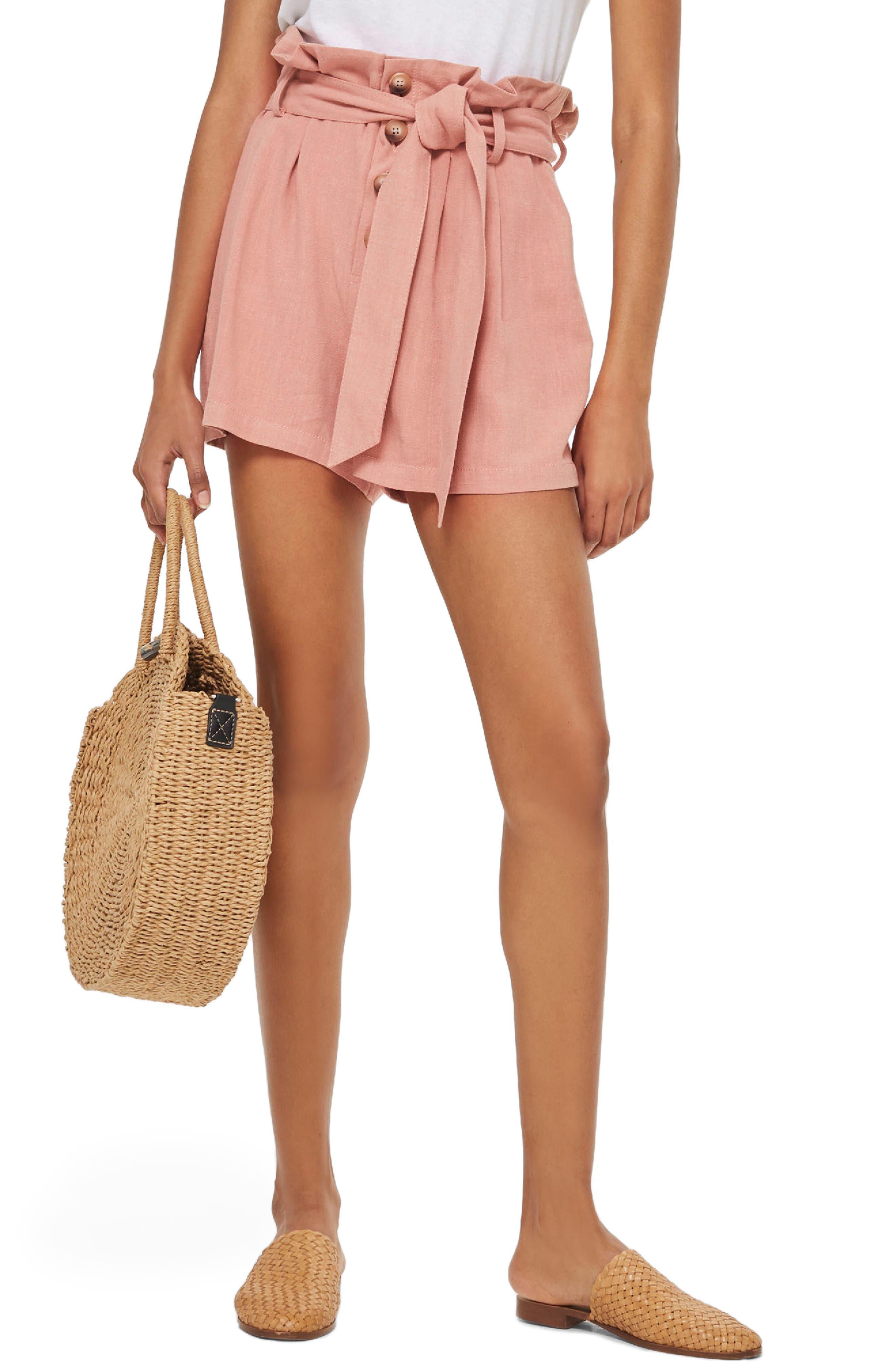 Linen Button Paperbag Shorts,                             Main thumbnail 1, color,                             Blush