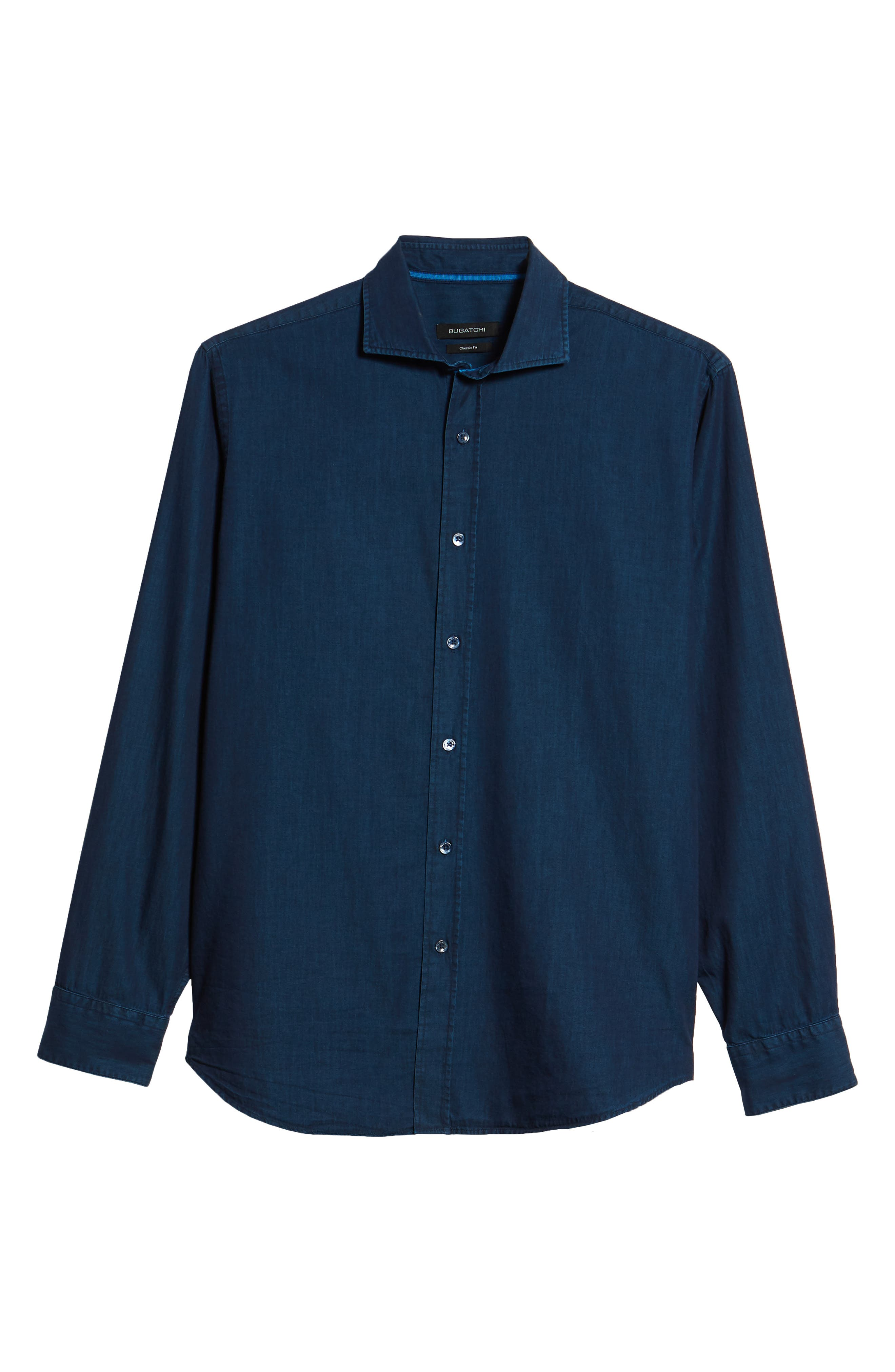 Classic Fit Indigo Sport Shirt,                             Alternate thumbnail 6, color,                             Navy