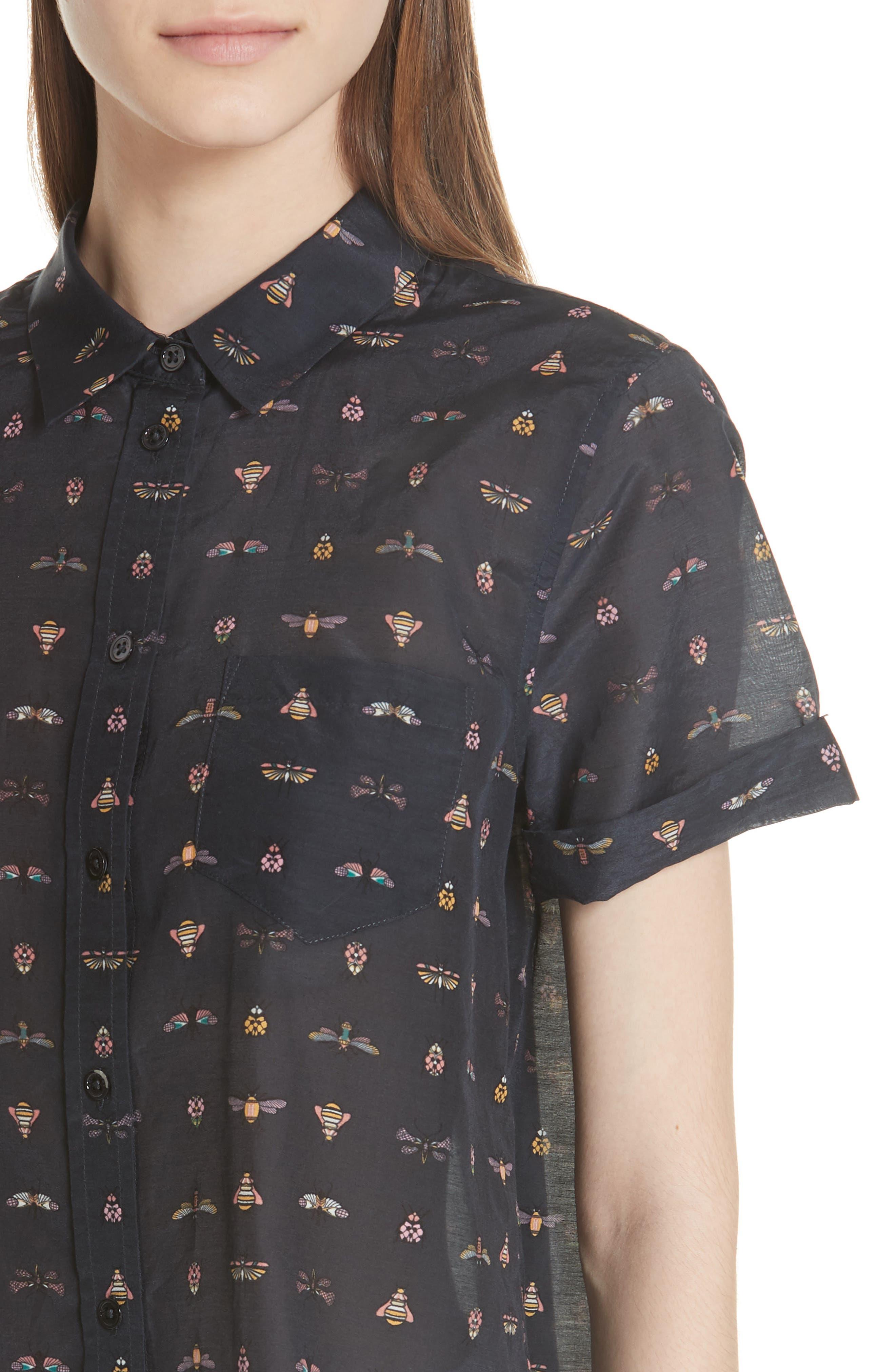 Elley Cotton & Silk Shirt,                             Alternate thumbnail 4, color,                             Eclipse Multi