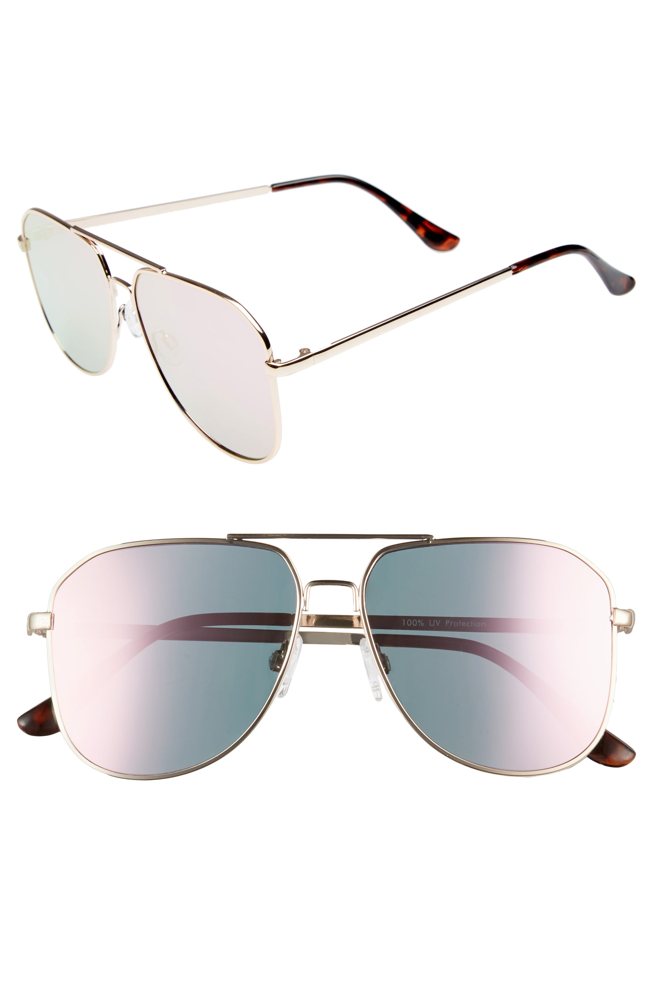 54mm Aviator Sunglasses,                             Main thumbnail 1, color,                             Gold/ Pink