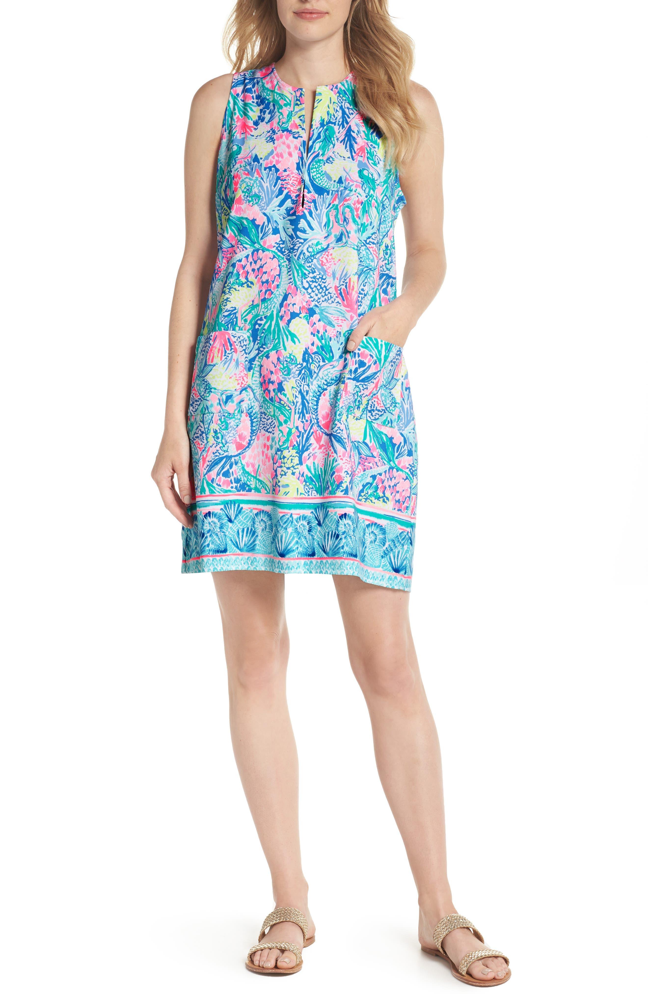 Kelby Stretch Shift Dress,                         Main,                         color, Multi Mermaids Cove