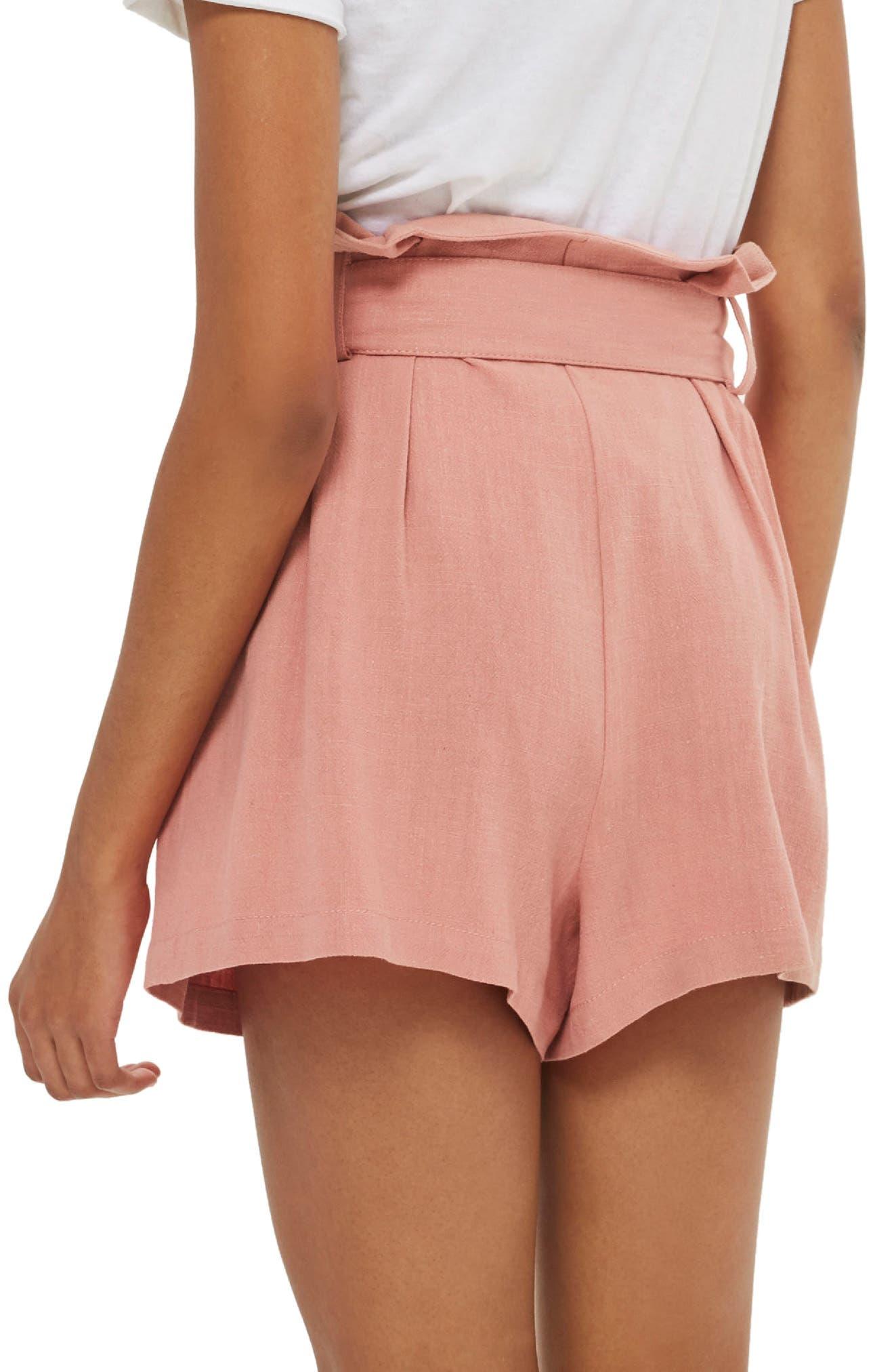 Linen Button Paperbag Shorts,                             Alternate thumbnail 2, color,                             Blush
