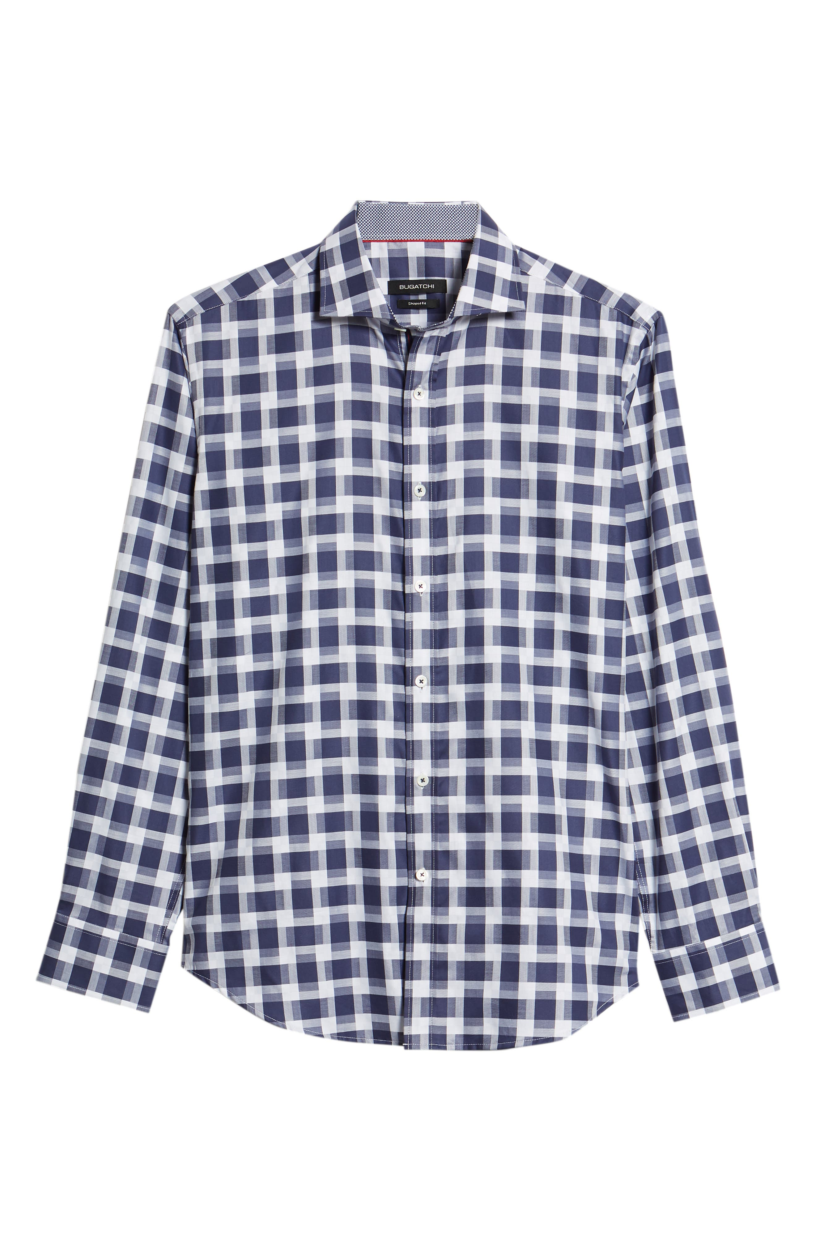 Shaped Fit Layered Grid Sport Shirt,                             Alternate thumbnail 6, color,                             Navy