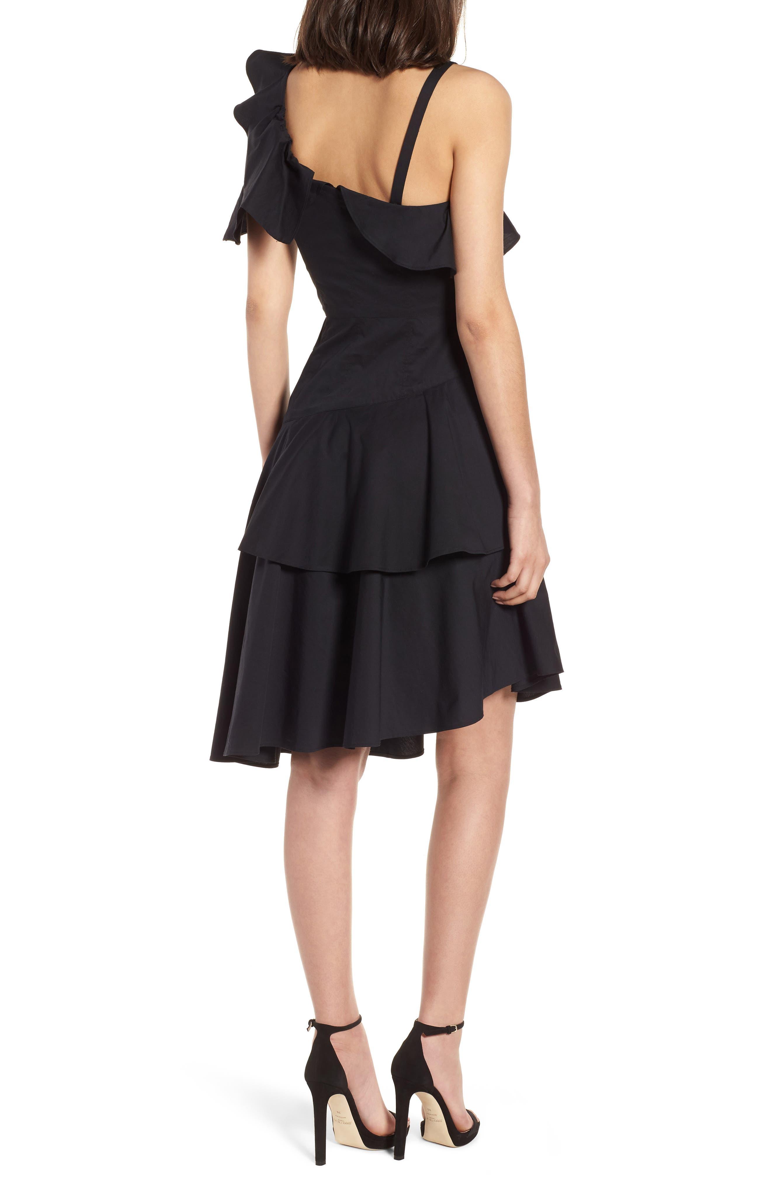 Ruffle One-Shoulder Dress,                             Alternate thumbnail 2, color,                             Black