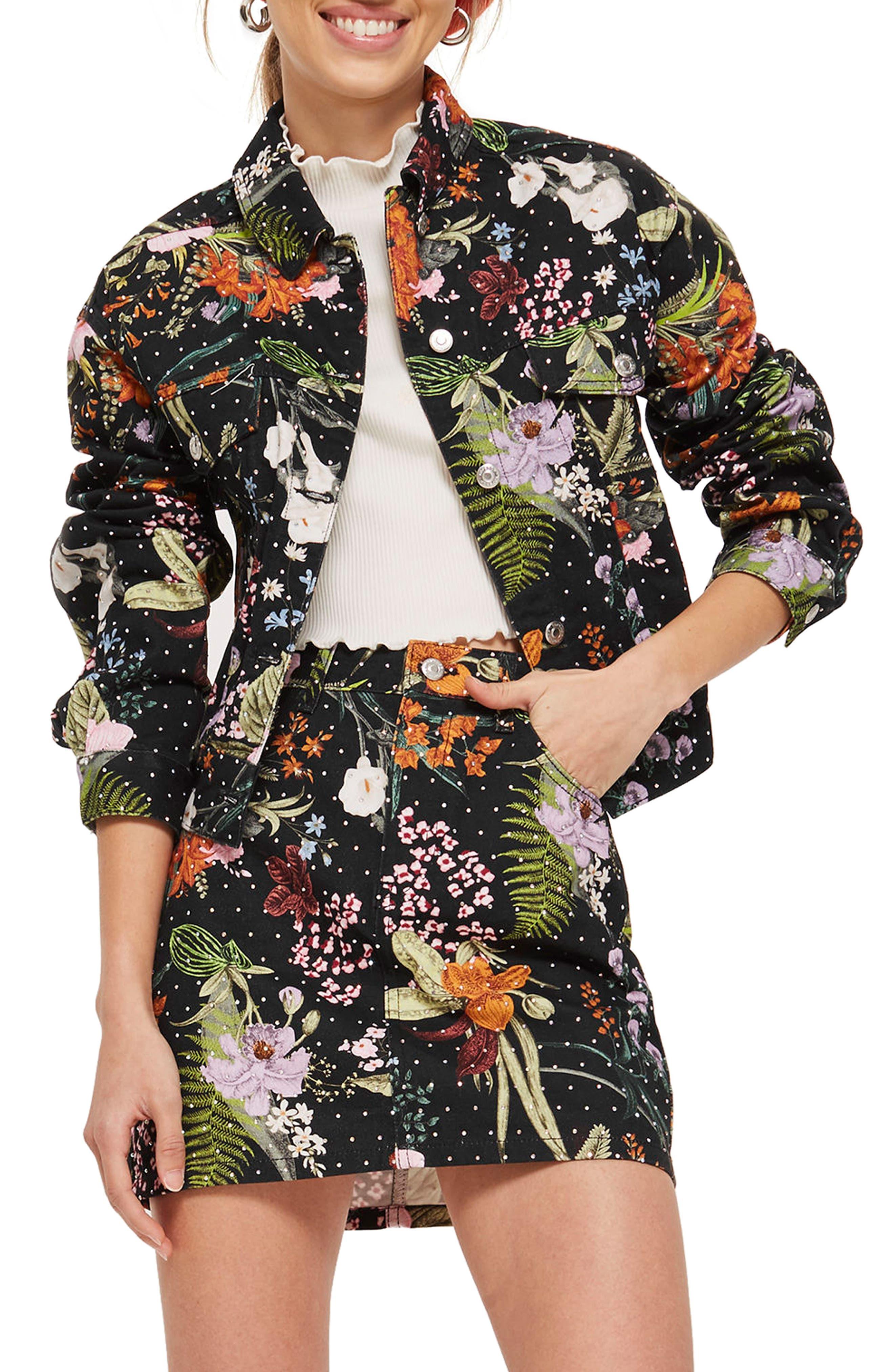 Hawaii Floral Crystal Denim Jacket,                         Main,                         color, Black Multi