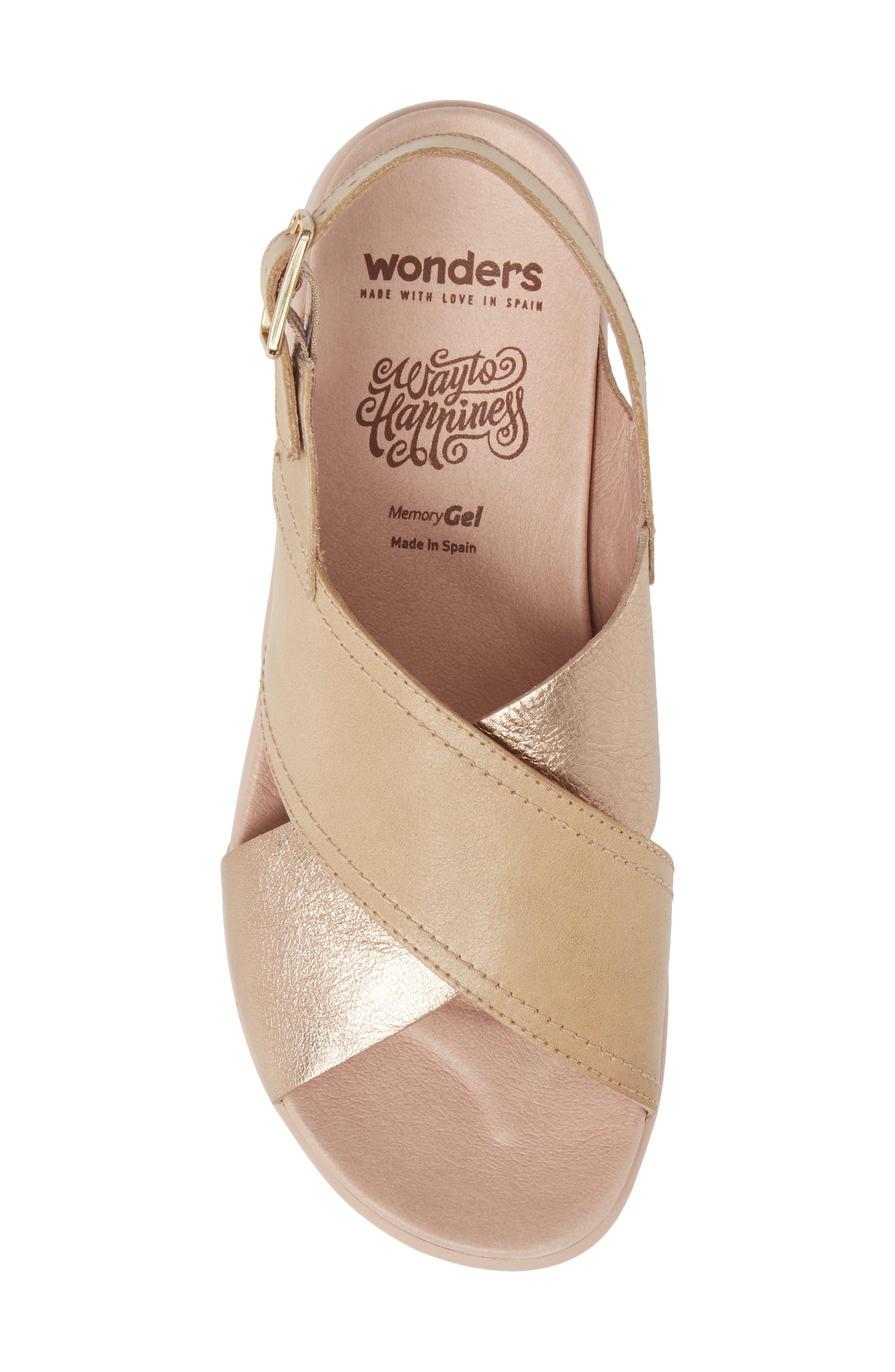 Platform Wedge Sandal,                             Alternate thumbnail 5, color,                             Oro/ Taupe Leather