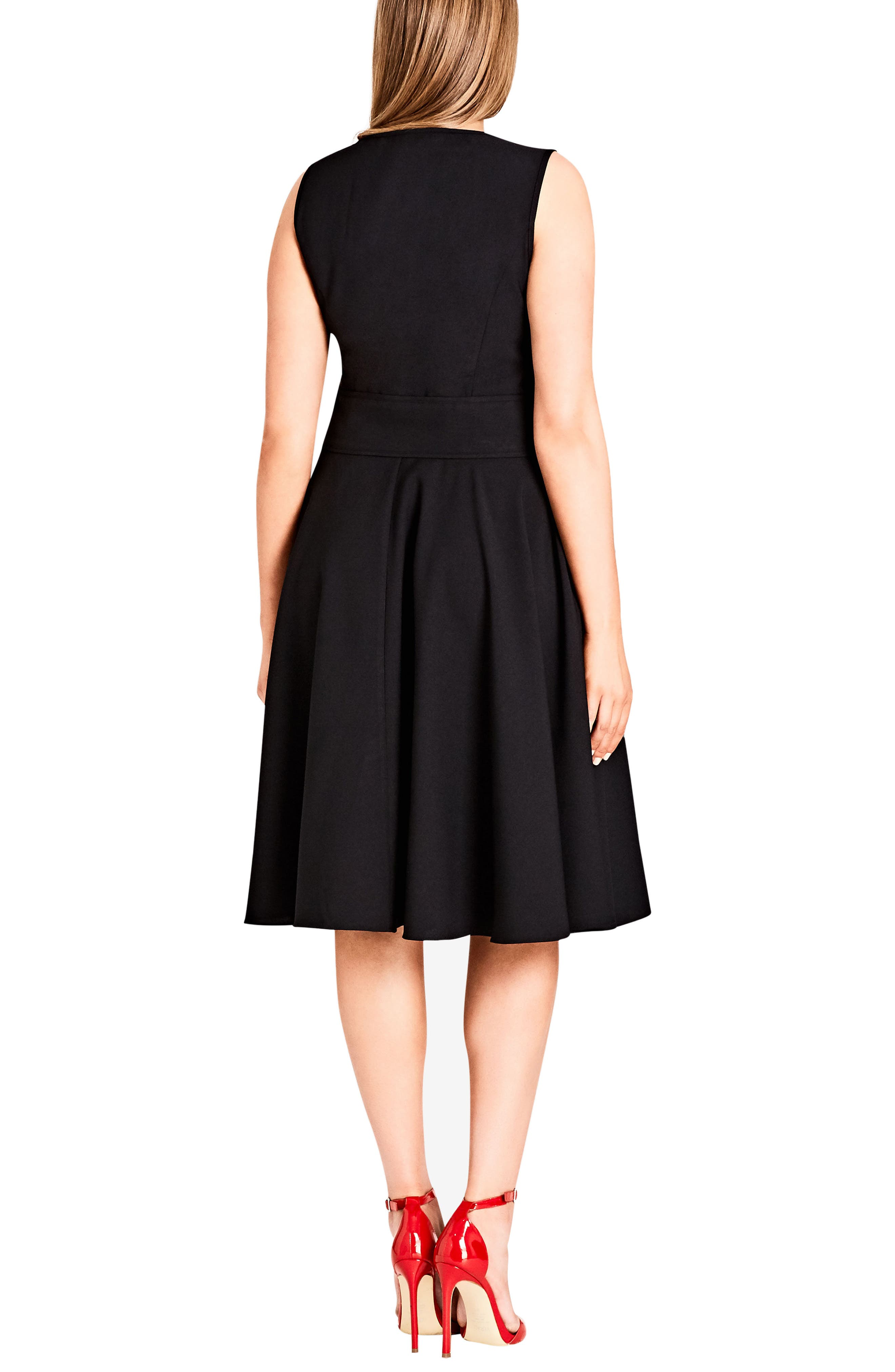 Corset Waist Fit & Flare Dress,                             Alternate thumbnail 2, color,                             Black