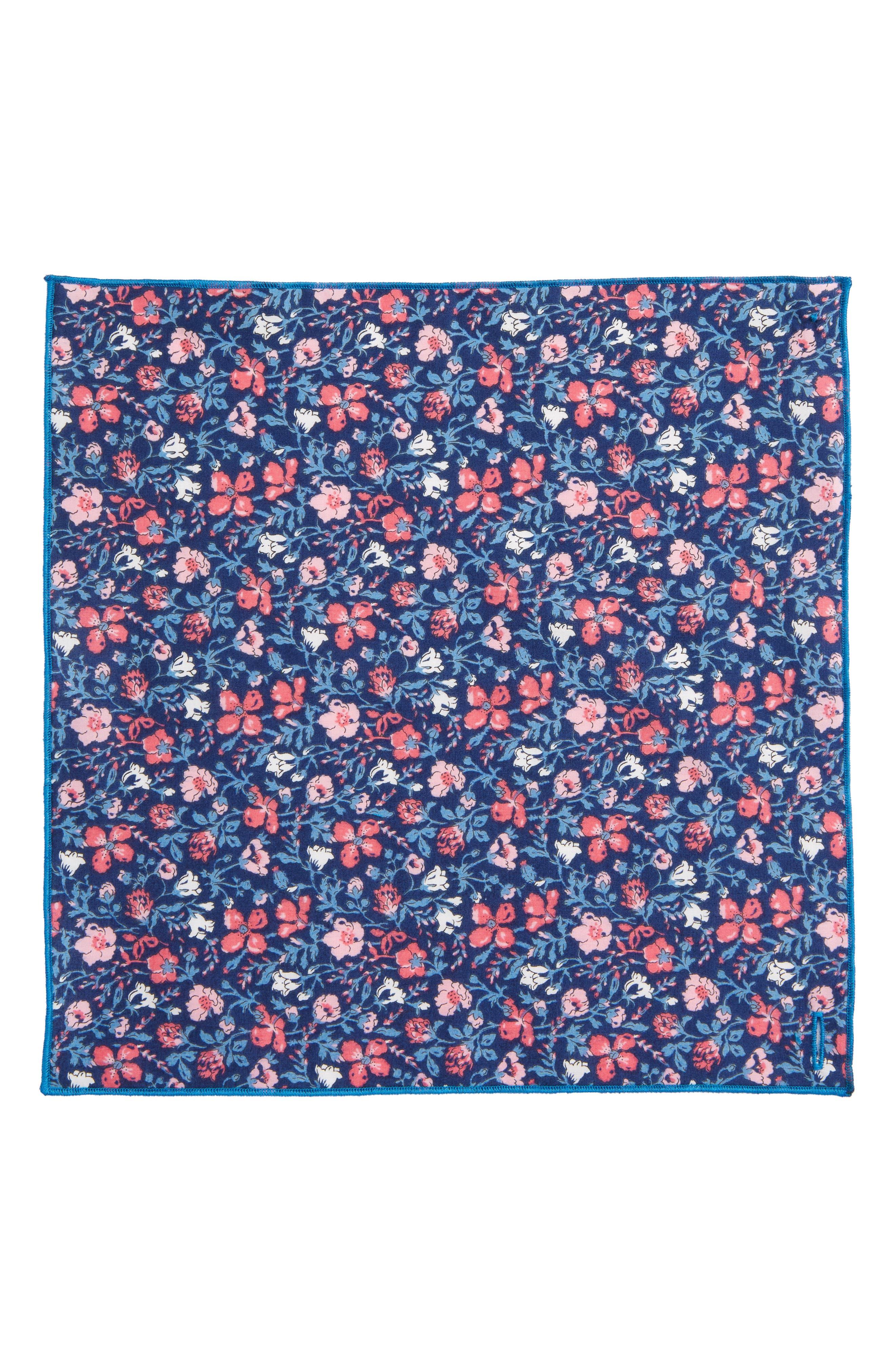 Mixed Berries Cotton Pocket Square,                             Alternate thumbnail 2, color,                             Blue