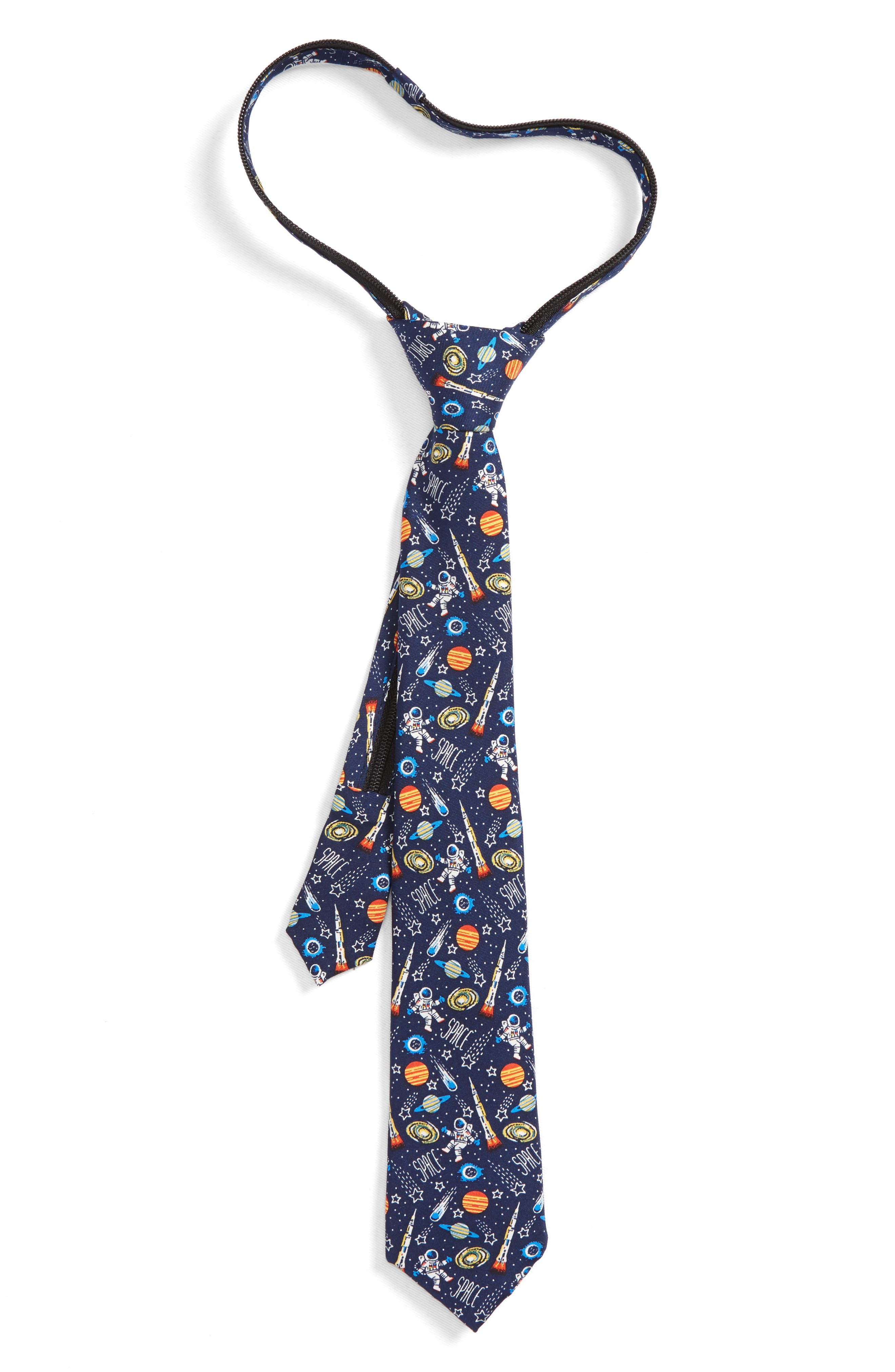 Space Icons Silk Zip Tie,                             Main thumbnail 1, color,                             Navy