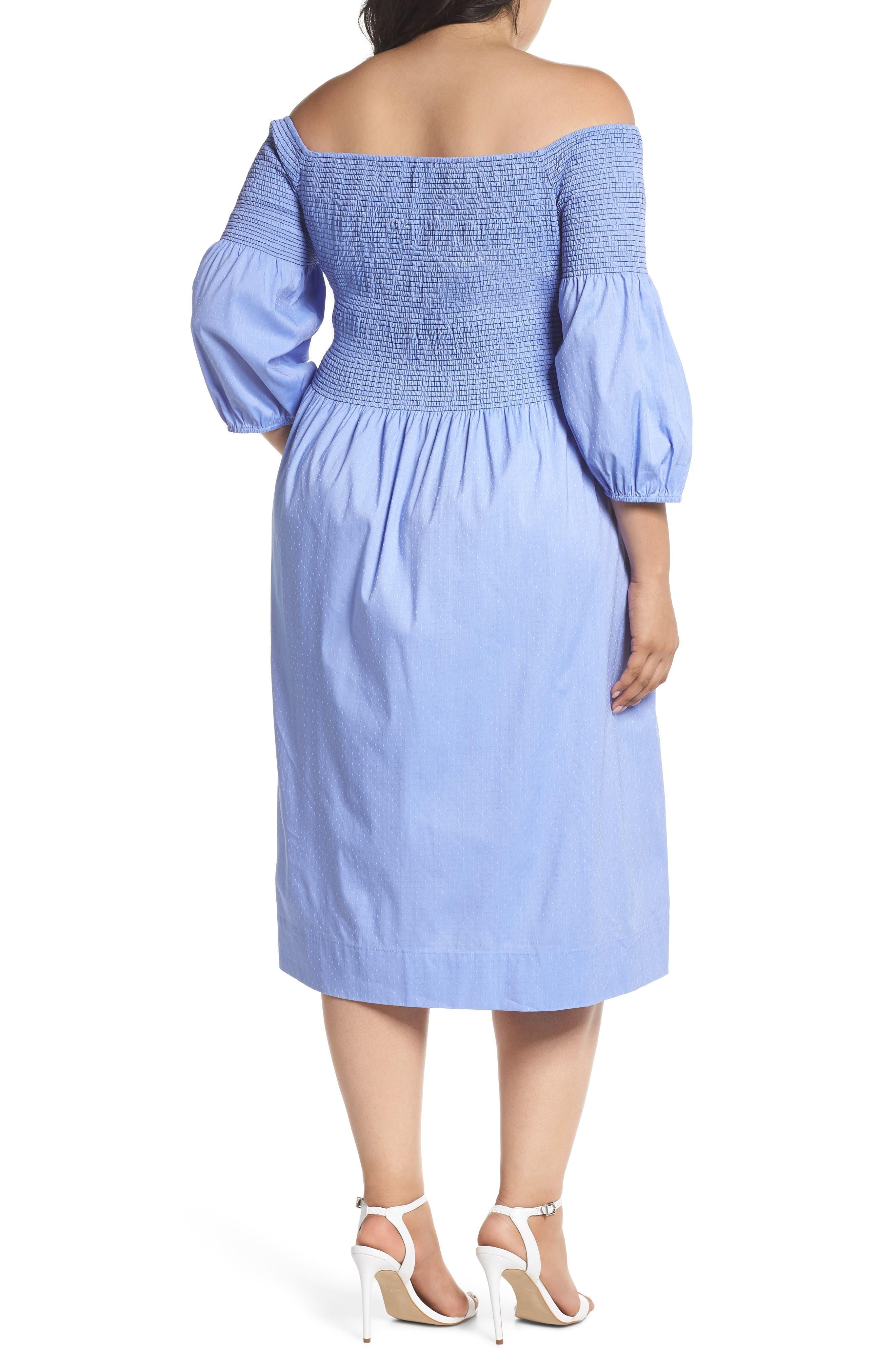 Off the Shoulder Smocked Bodice Midi Dress,                             Alternate thumbnail 2, color,                             Blue Ivory Swiss Dot