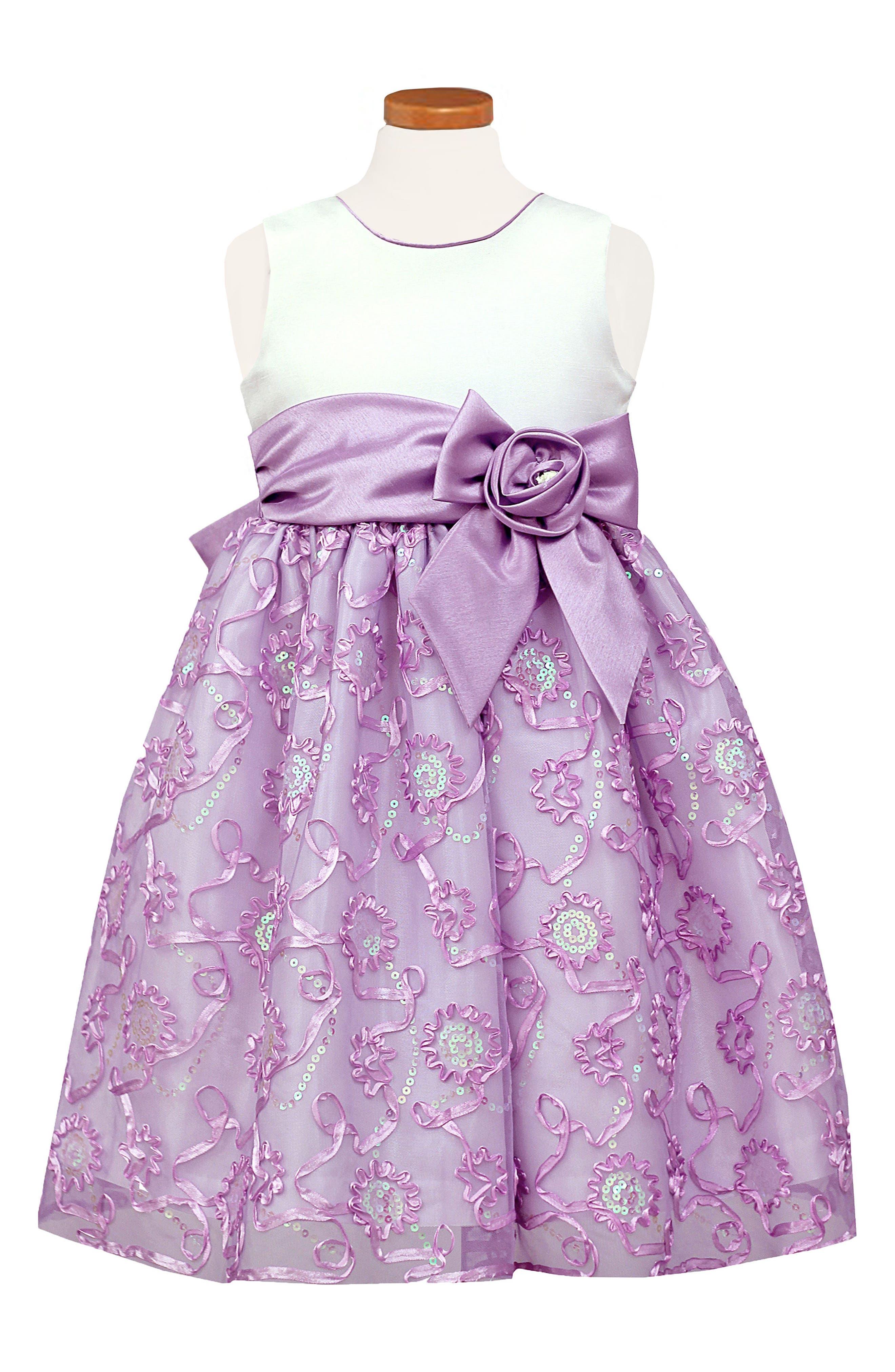 Soutache & Sequin Party Dress,                         Main,                         color, Purple