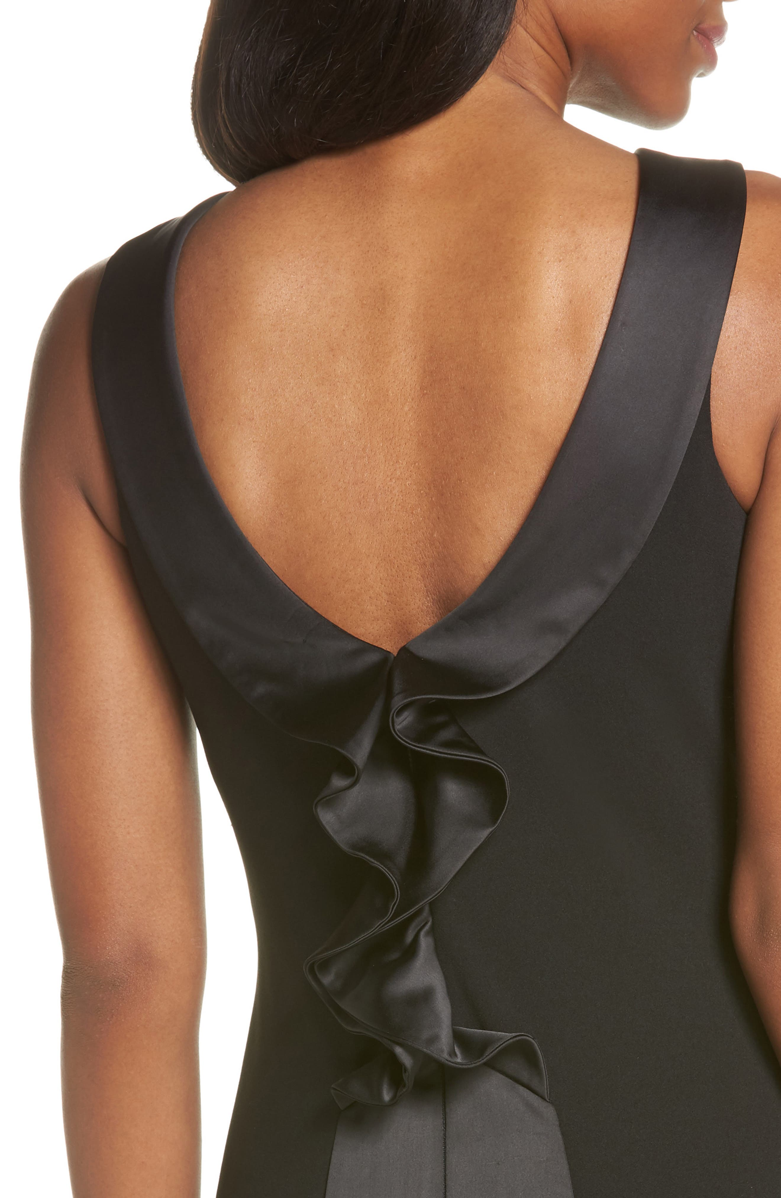 Ruffle Back Scuba Crepe Gown,                             Alternate thumbnail 4, color,                             Black