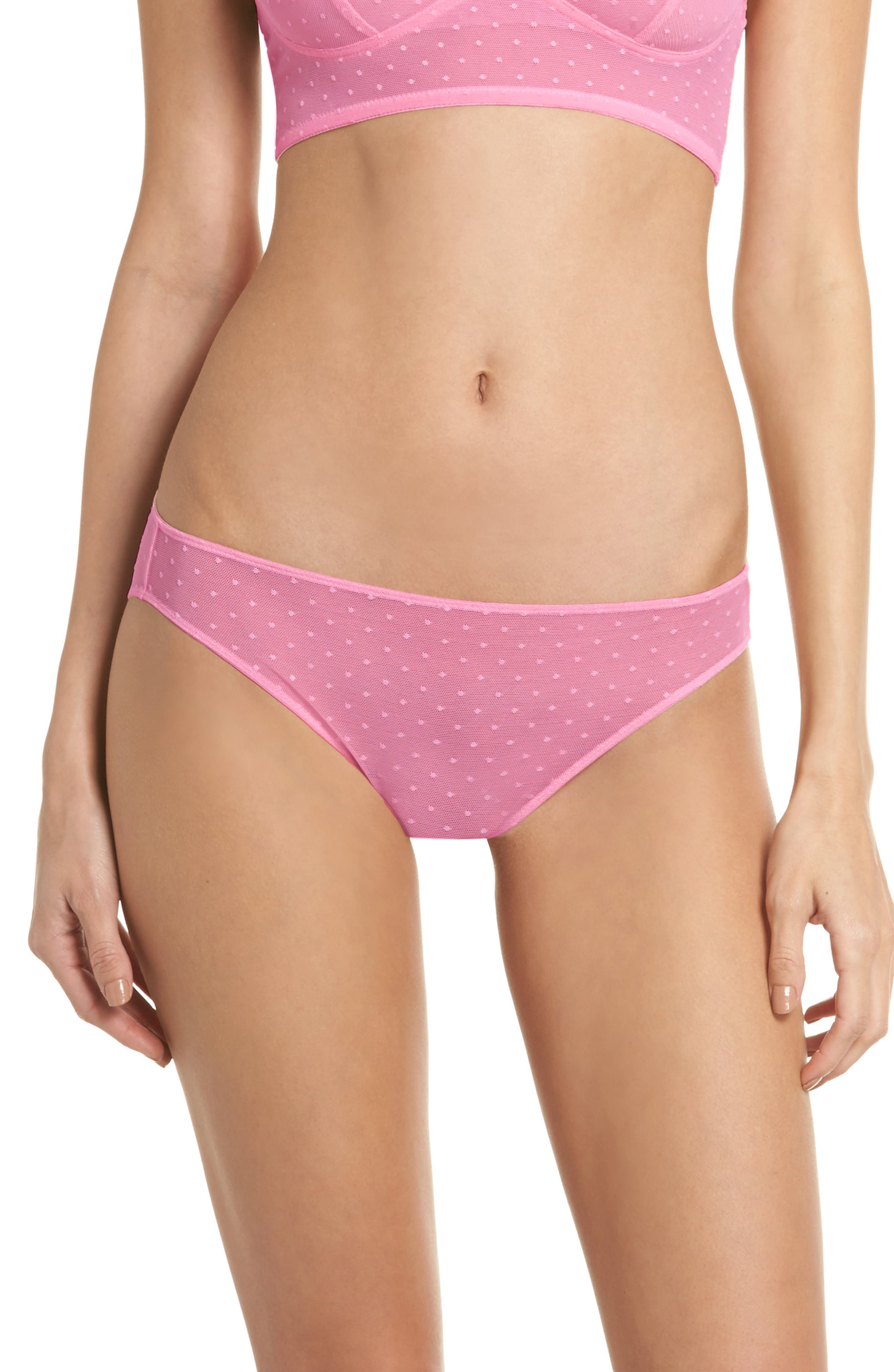 Swiss Dot Bikini,                             Main thumbnail 1, color,                             Candy Pink