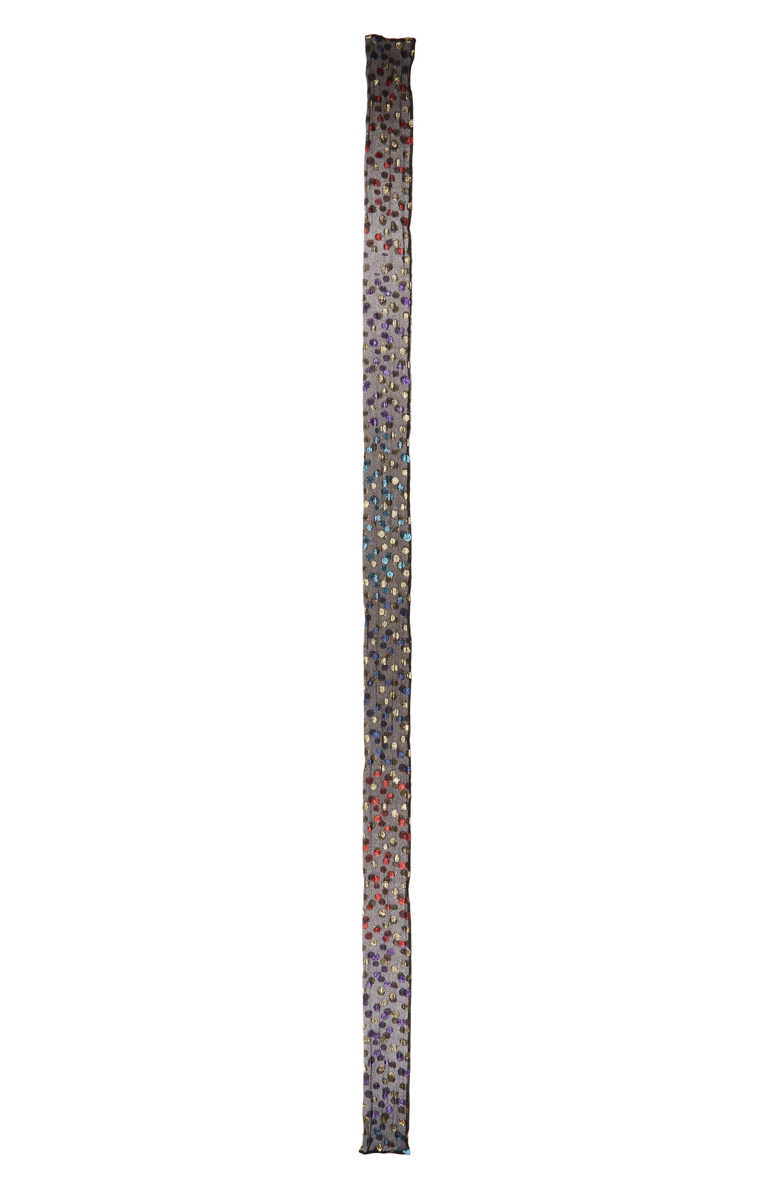 Metallic Polka Dots Silk Skinny Scarf,                         Main,                         color, Black/ Multicolor
