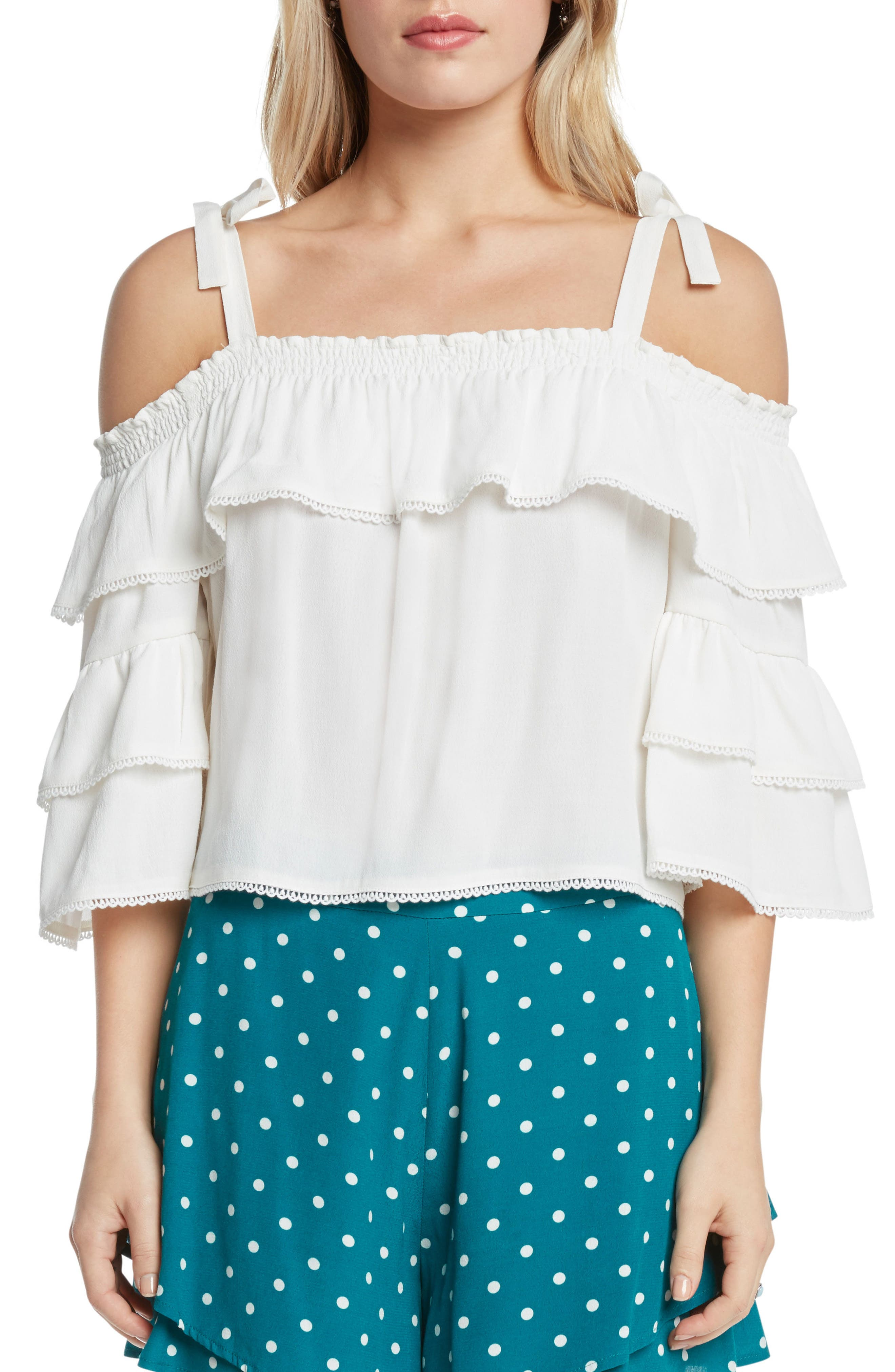 Willow & Clay Lace Trim Cold Shoulder Top