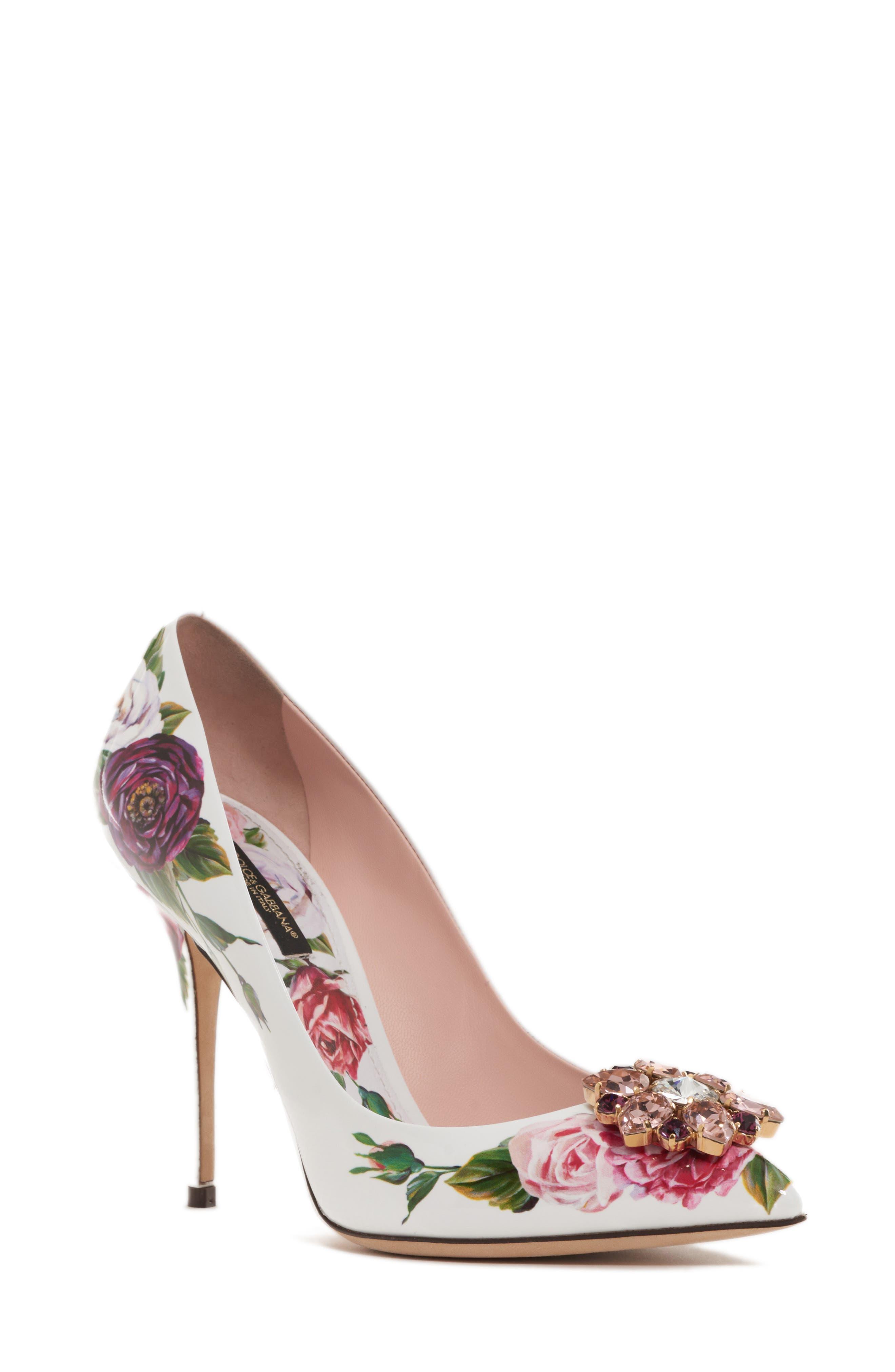Dolce&Gabbana Crystal Embellished Floral Pump (Women)