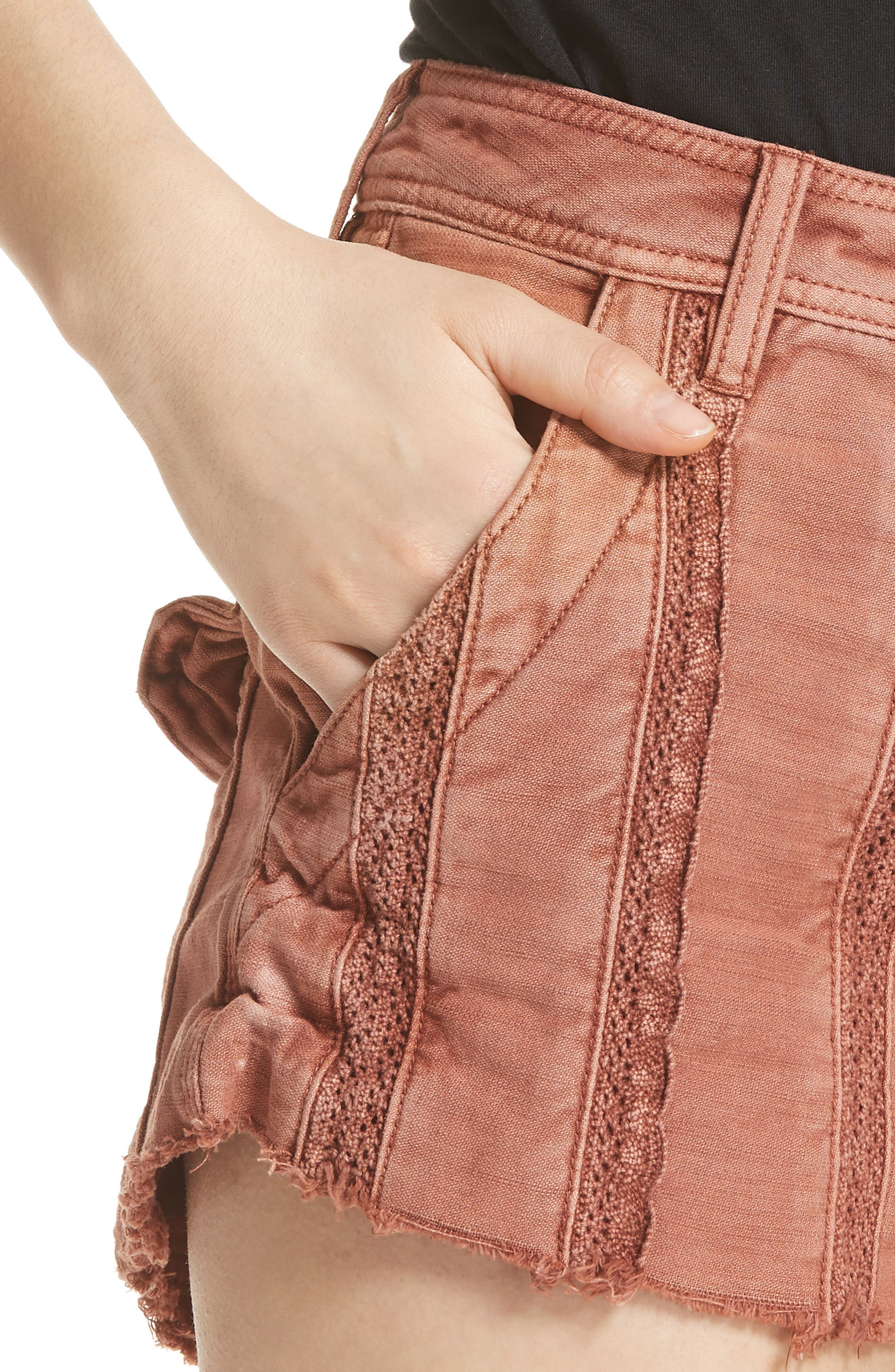 Great Expectations Lace Cutout Shorts,                             Alternate thumbnail 4, color,                             Peach