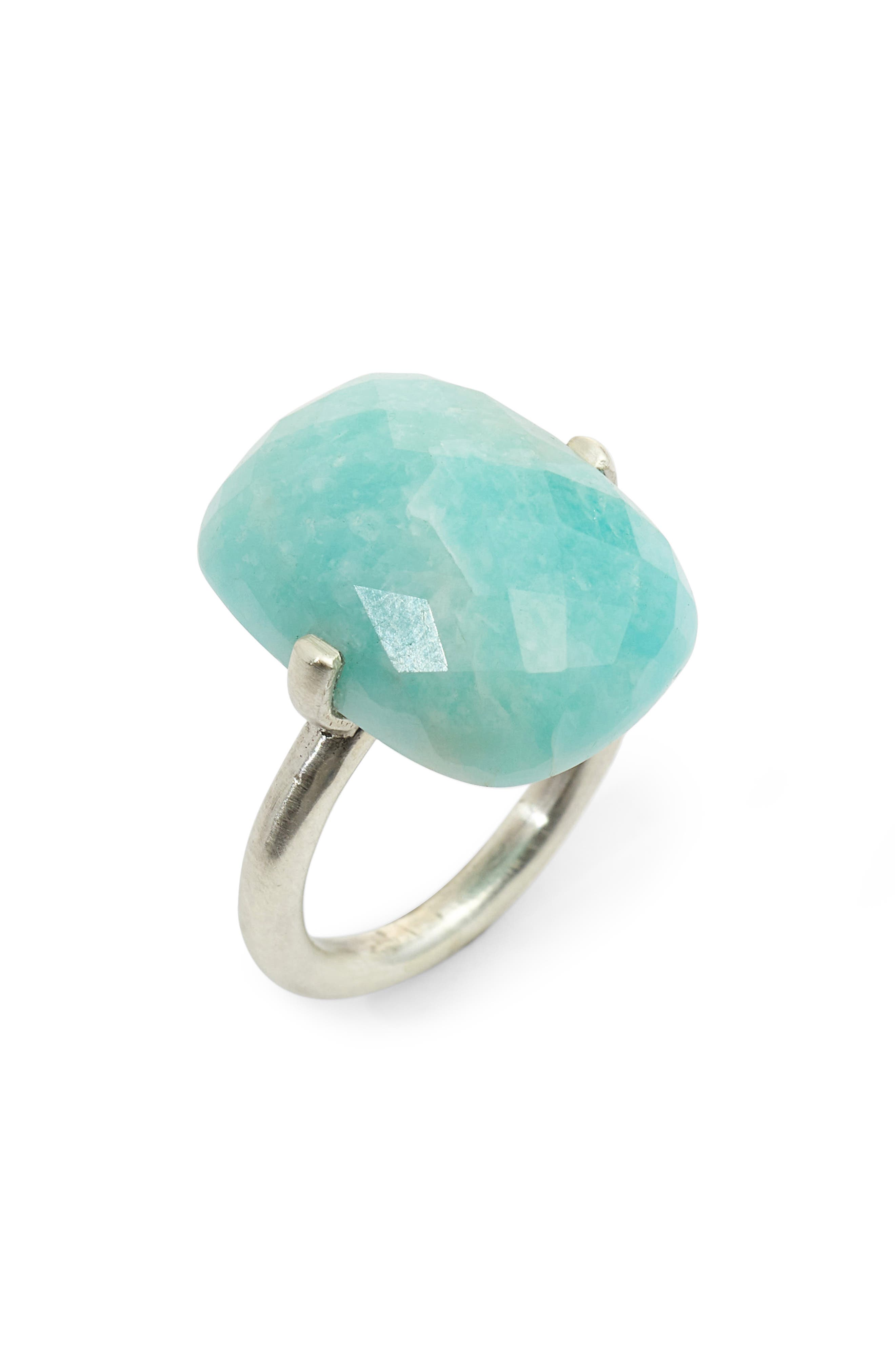 Faceted Stone Ring,                         Main,                         color, Amazonite