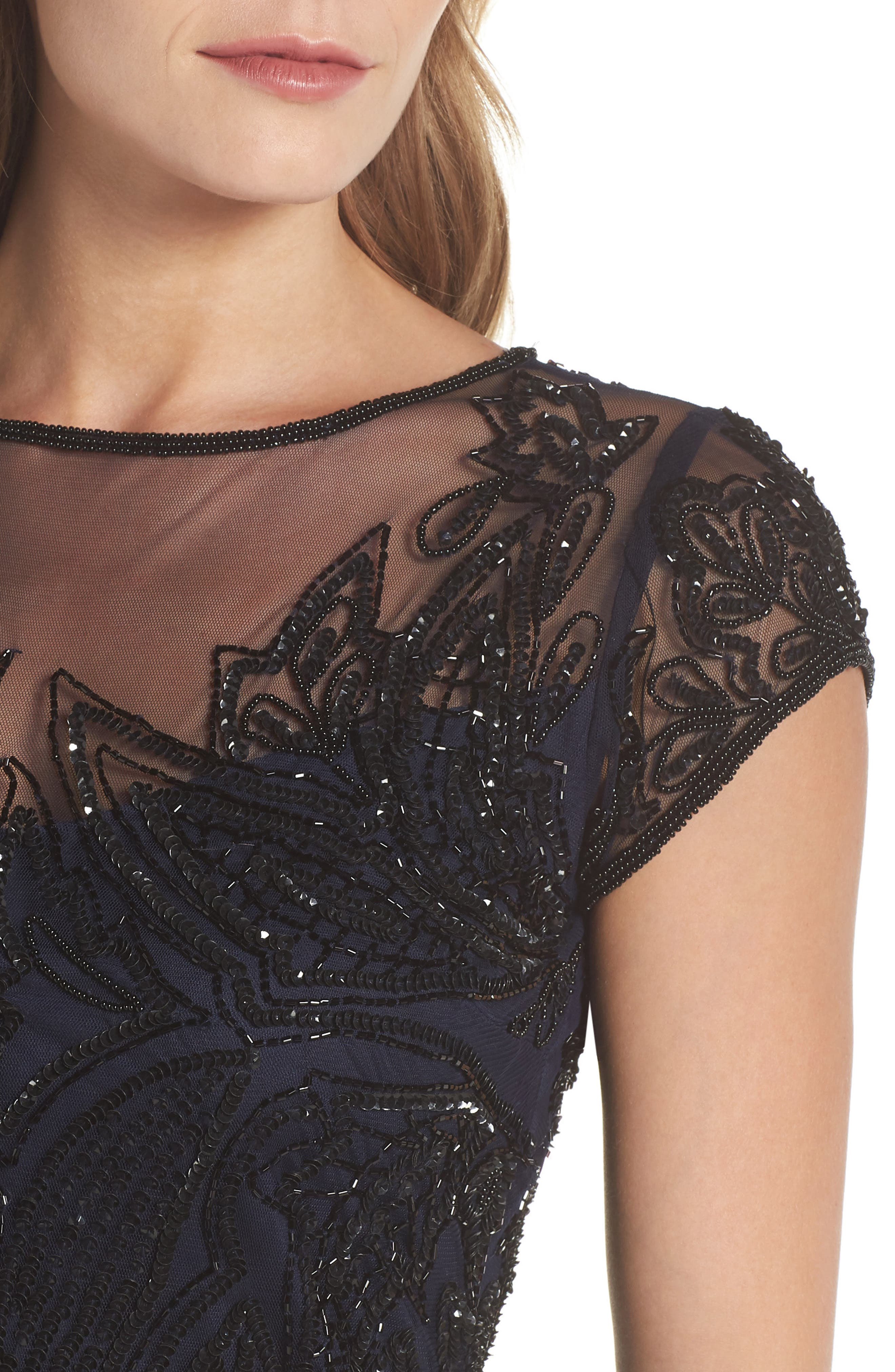 Beaded Illusion Yoke Sheath Dress,                             Alternate thumbnail 4, color,                             Navy Black