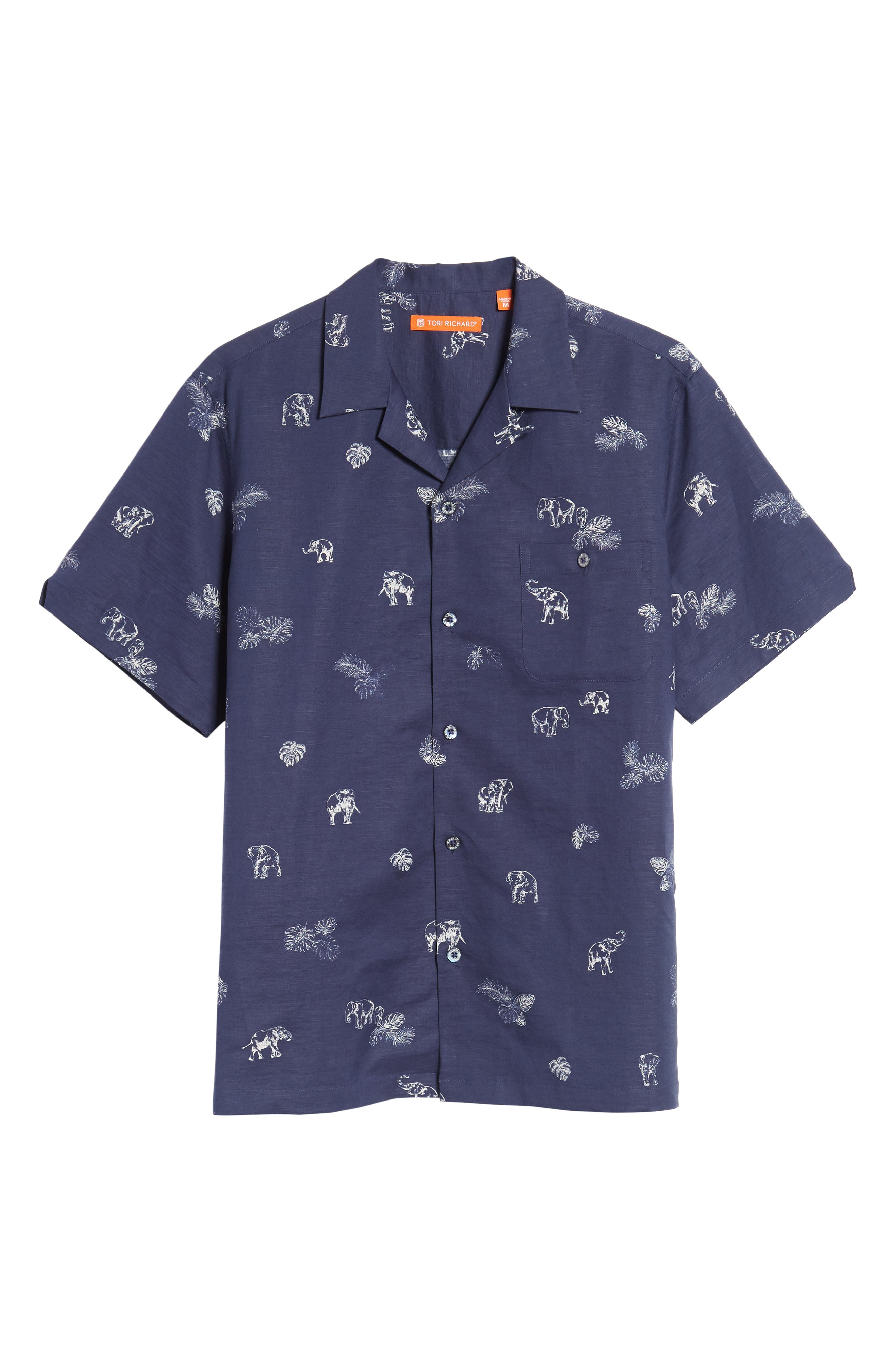 Sanctuary Trim Fit Linen & Cotton Camp Shirt,                             Alternate thumbnail 6, color,                             Navy