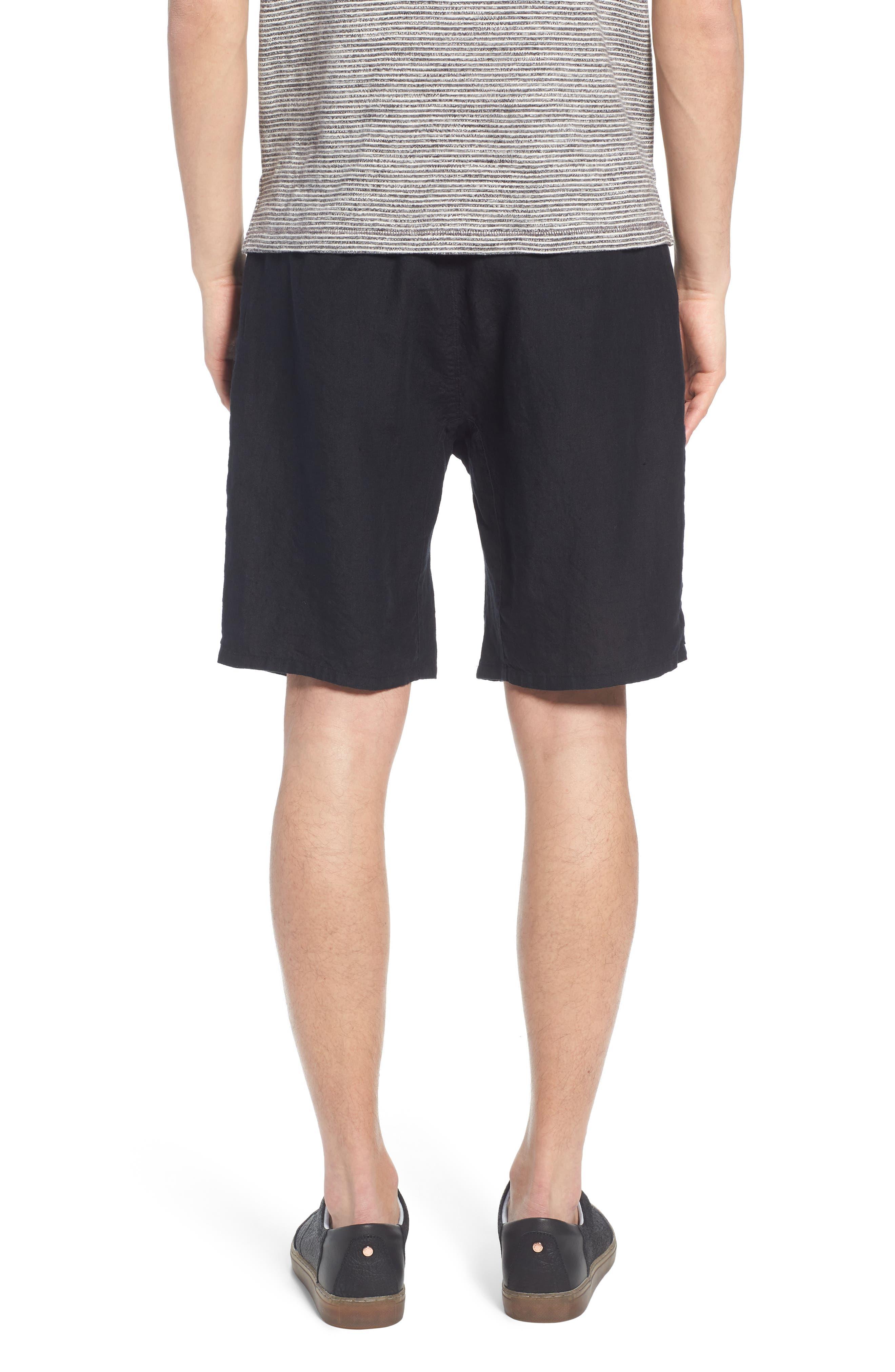 Pleat Tie Waist Linen Shorts,                             Alternate thumbnail 2, color,                             Black