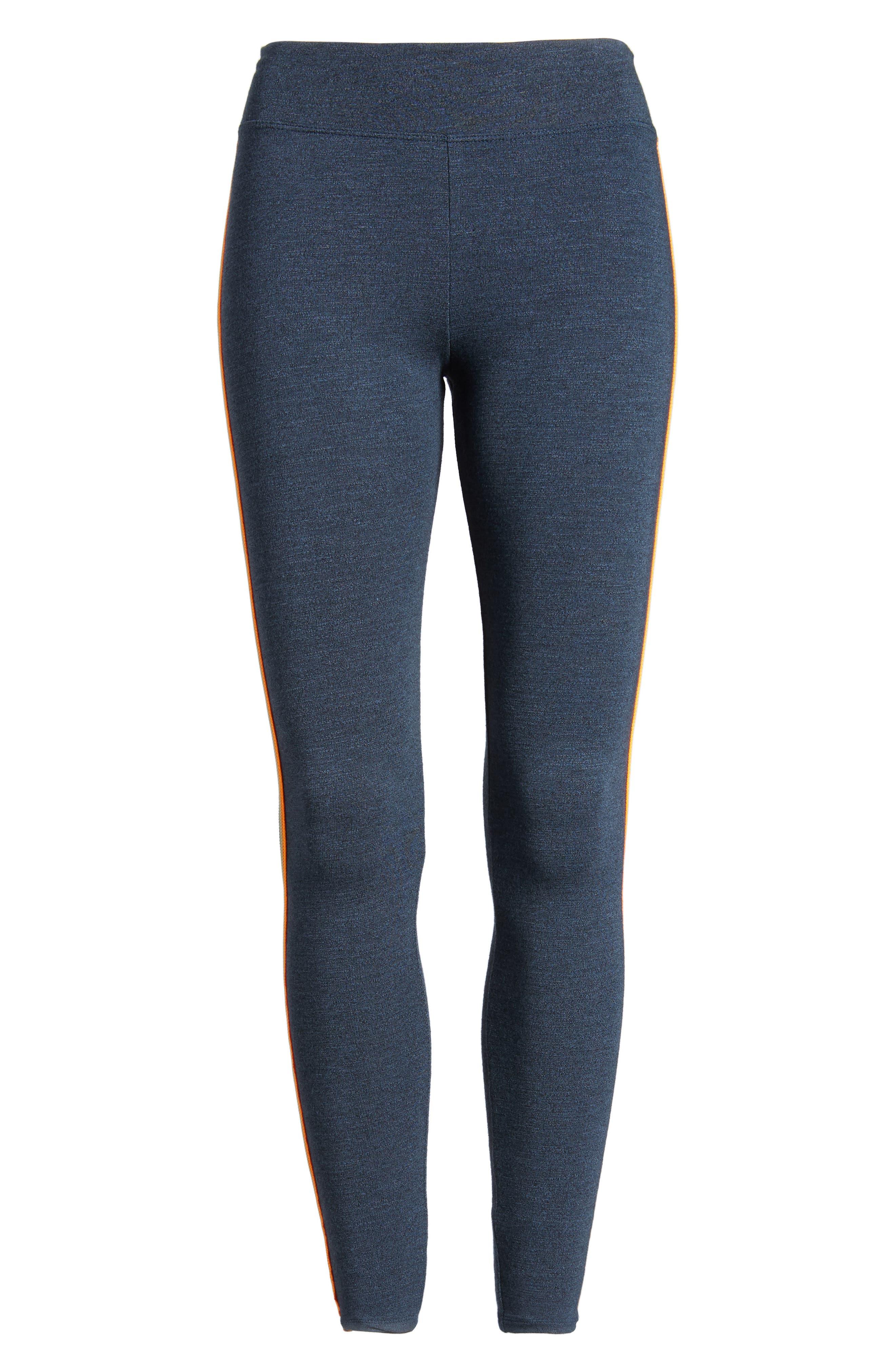Side Stripe Yoga Pants,                             Alternate thumbnail 6, color,                             Navy