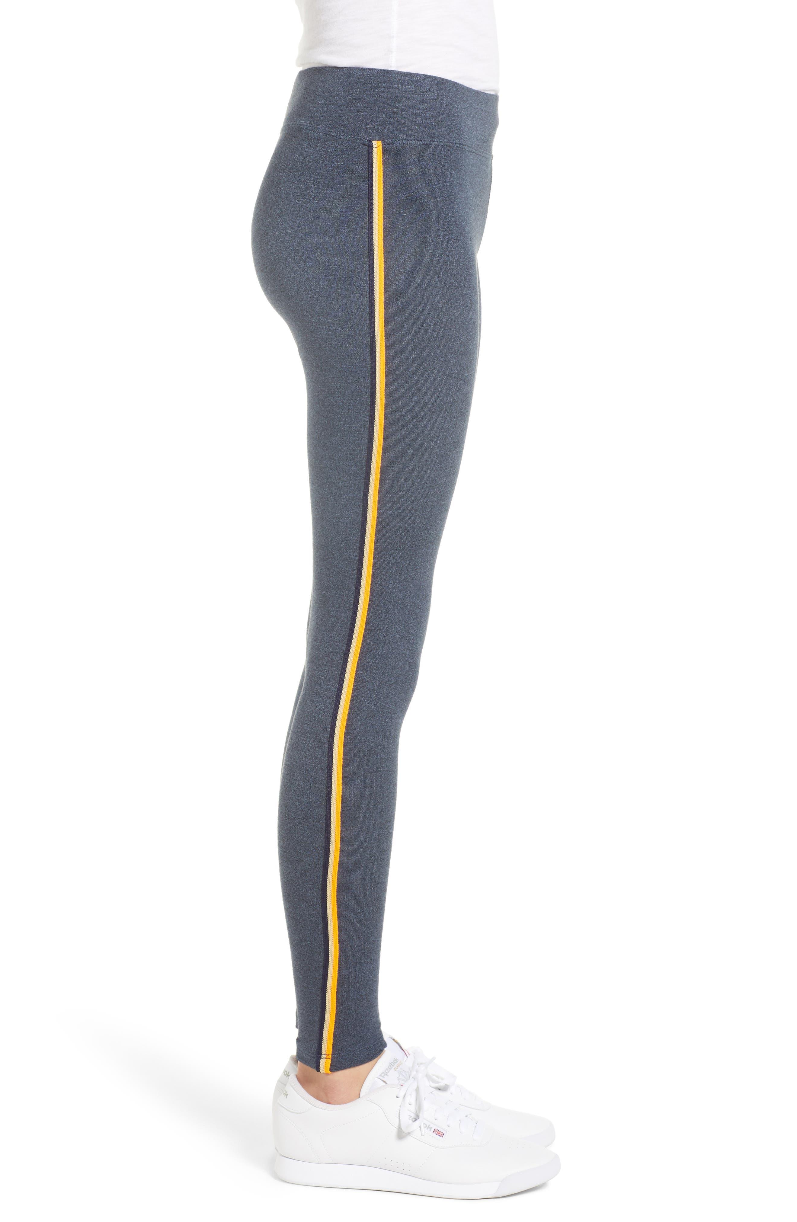 Side Stripe Yoga Pants,                             Alternate thumbnail 3, color,                             Navy