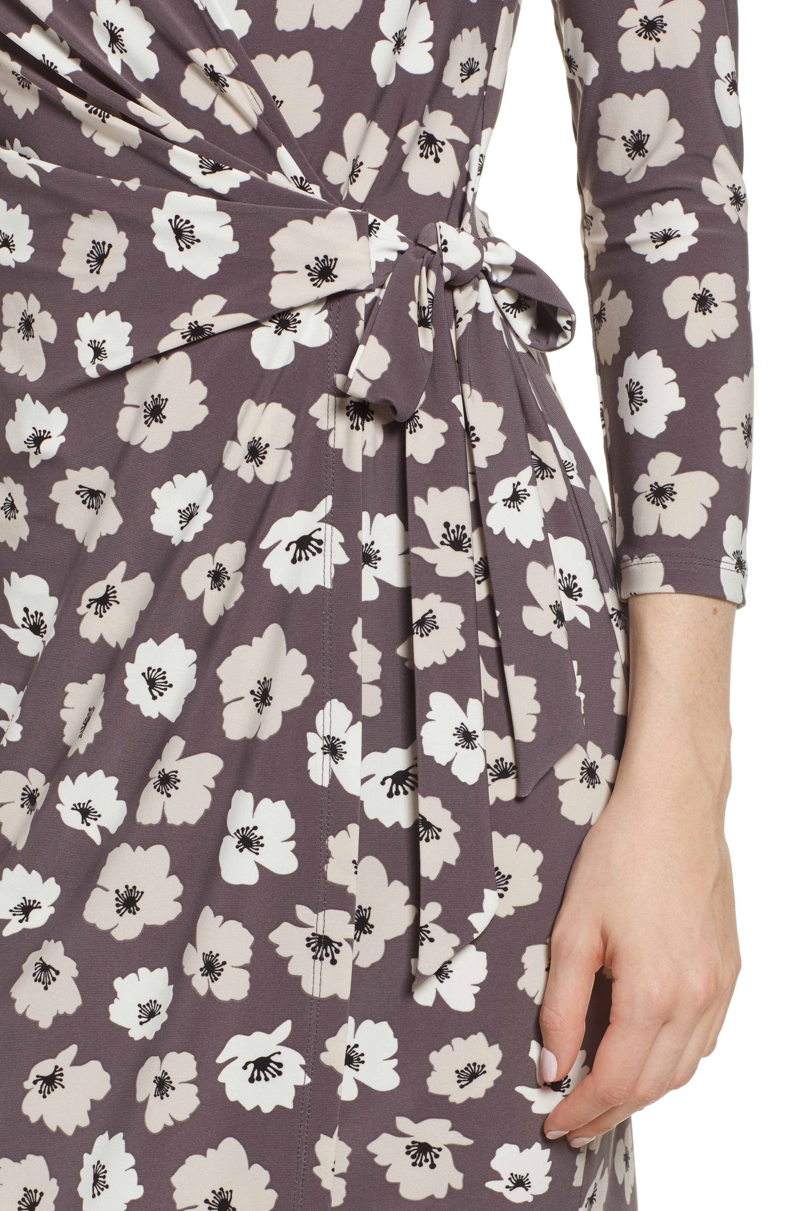 Floral Faux Wrap Dress,                             Alternate thumbnail 4, color,                             Nantucket Grey/ Oyster Shell