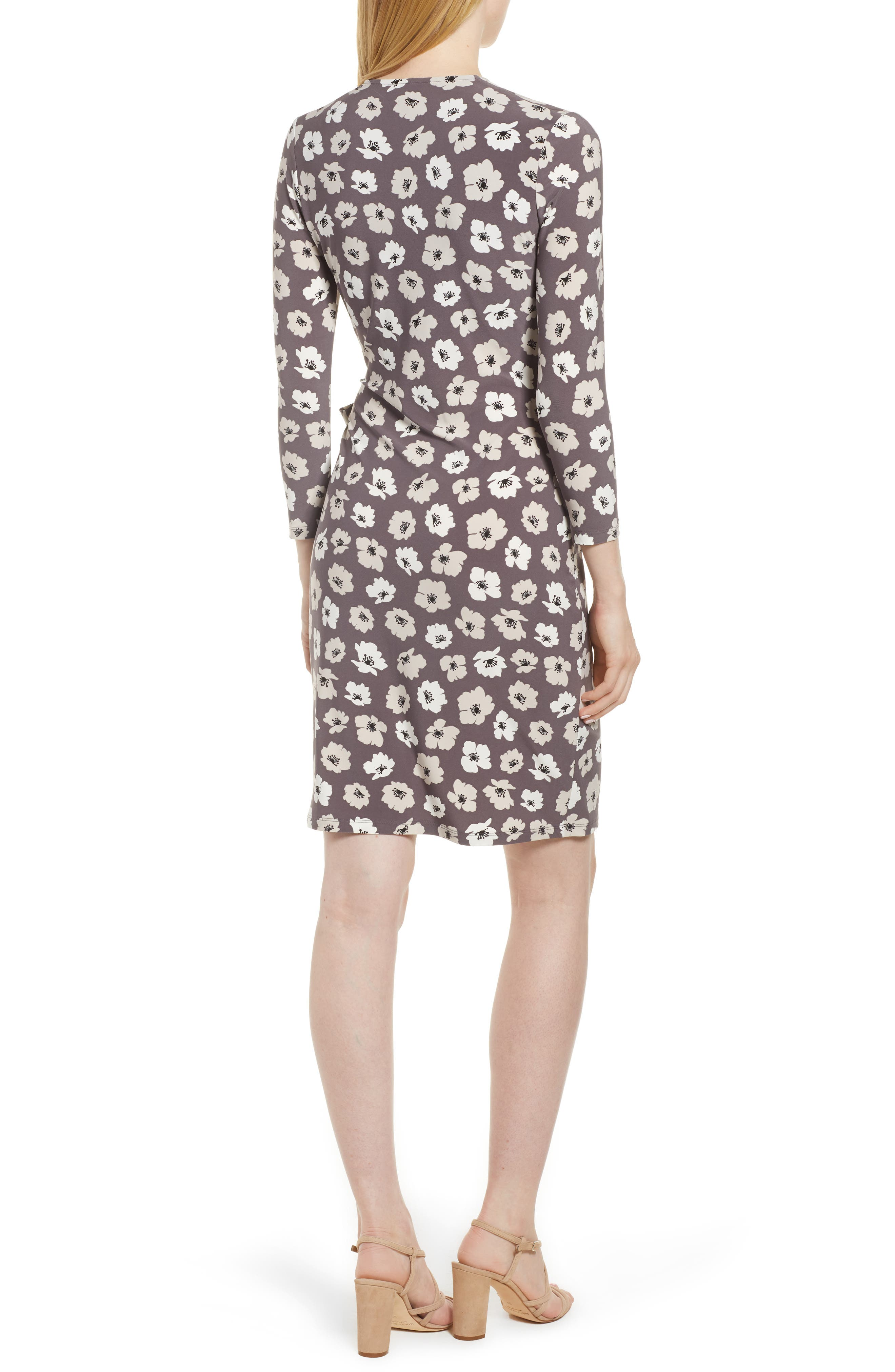 Floral Faux Wrap Dress,                             Alternate thumbnail 2, color,                             Nantucket Grey/ Oyster Shell