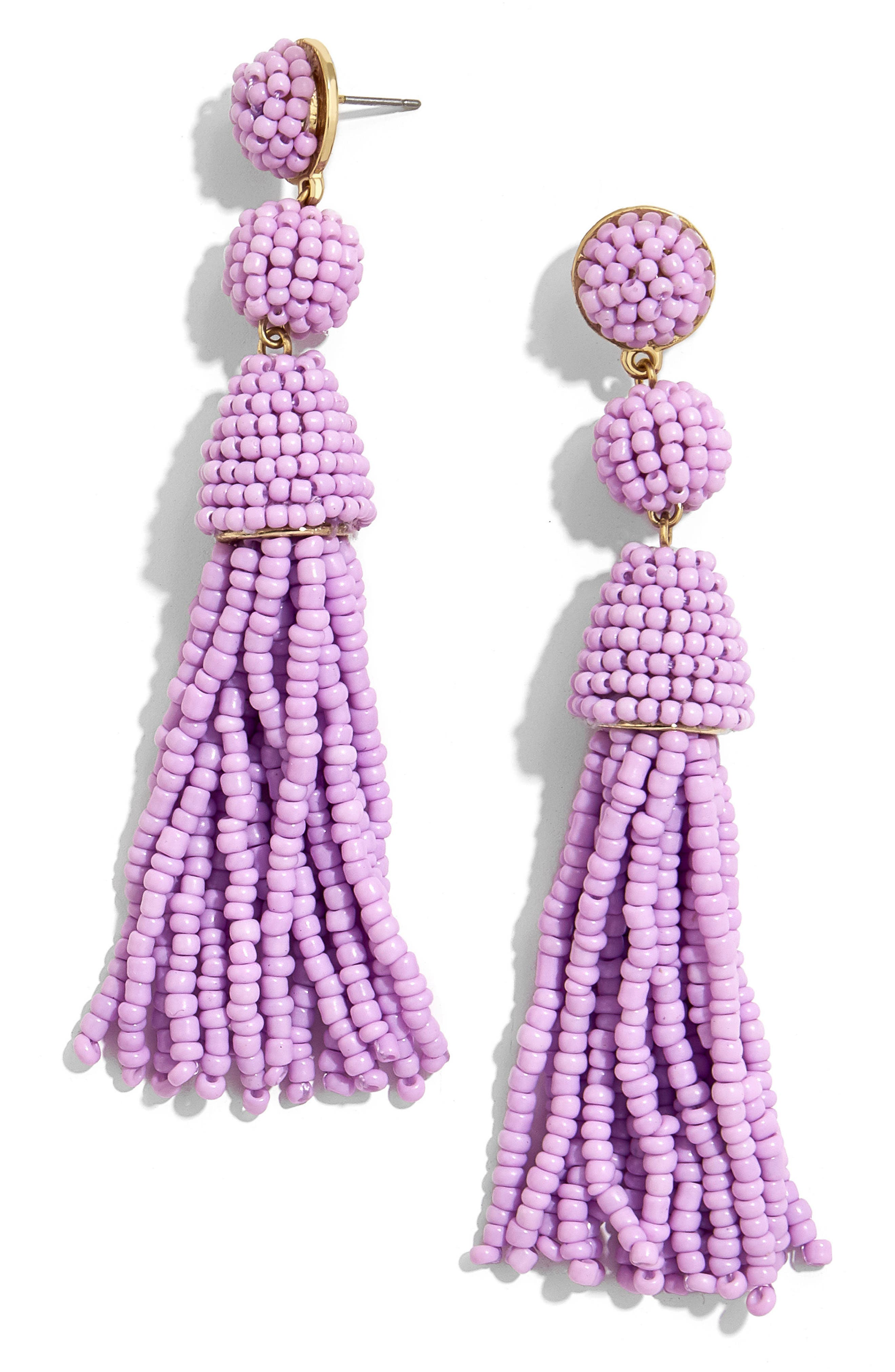 Granita Beaded Tassel Earrings,                         Main,                         color, Lavender
