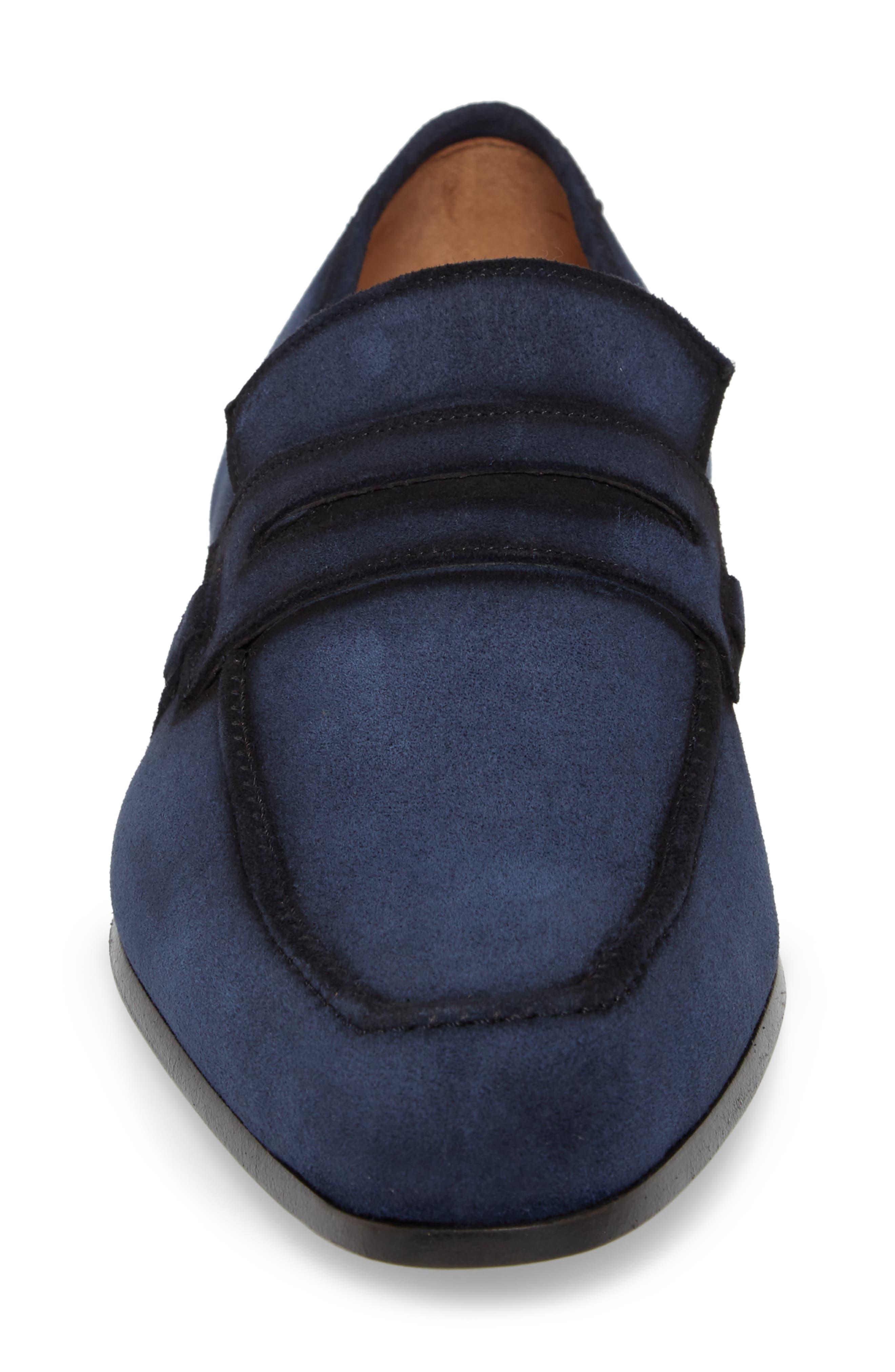 Ulpio Apron Toe Penny Loafer,                             Alternate thumbnail 4, color,                             Blue