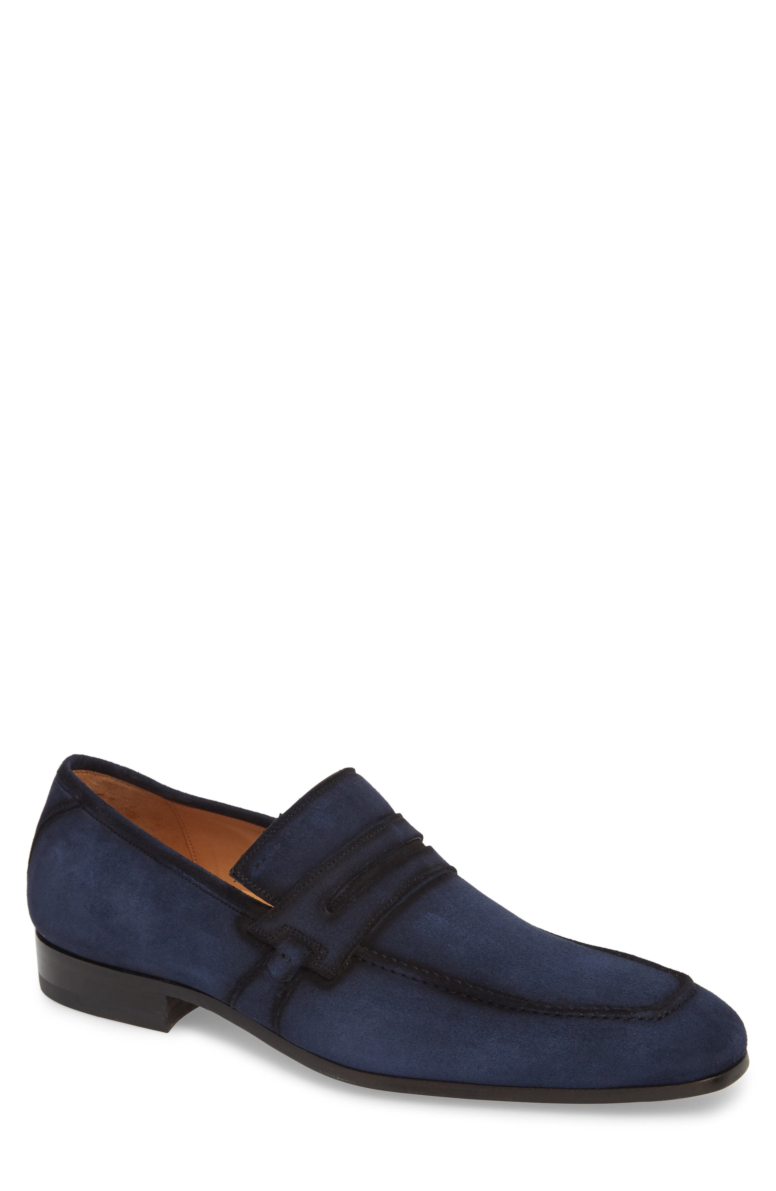 MEZLAN Ulpio Apron Toe Penny Loafer in Blue