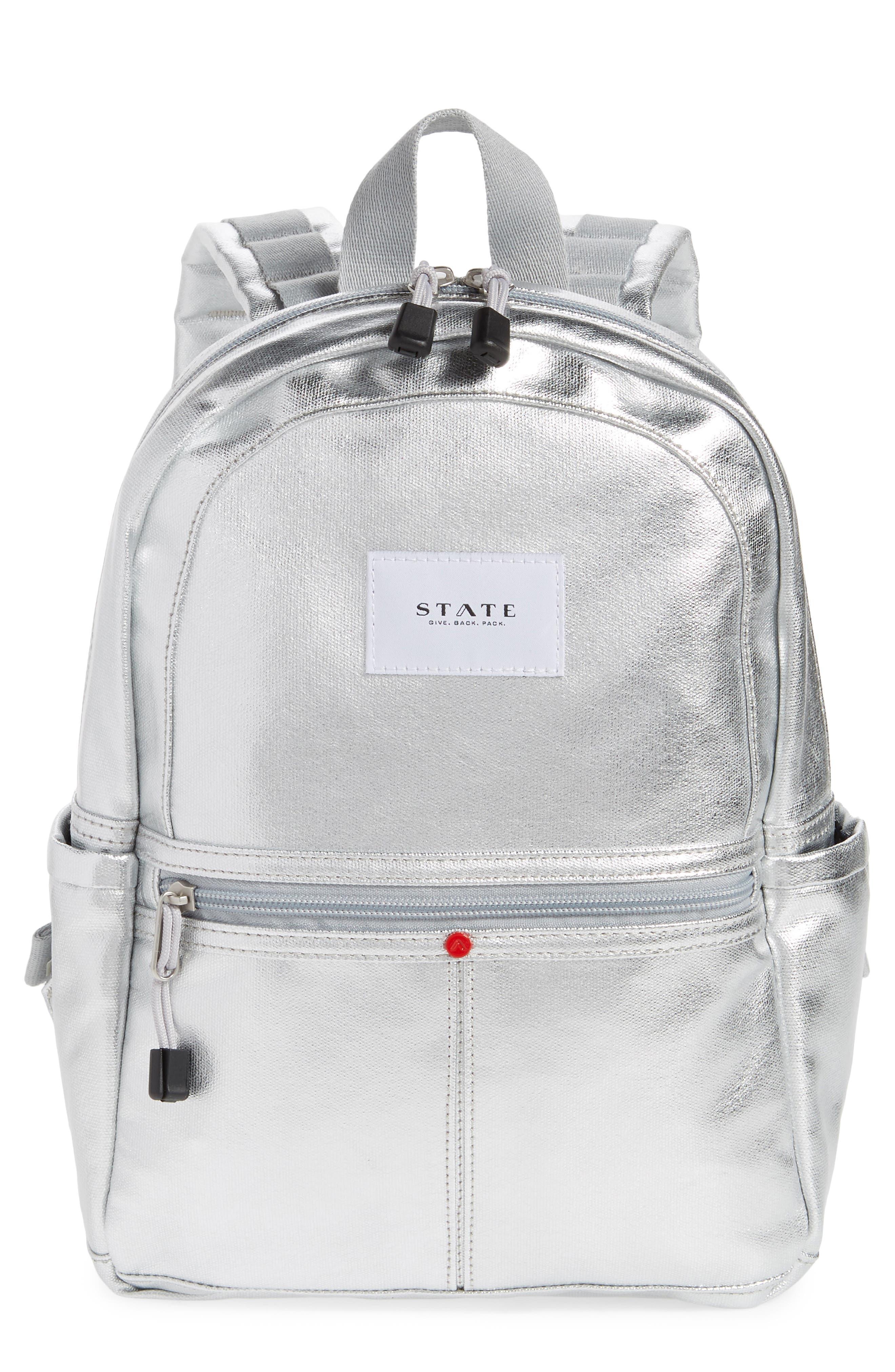 Downtown Mini Kane Canvas Backpack,                             Main thumbnail 1, color,                             Silver