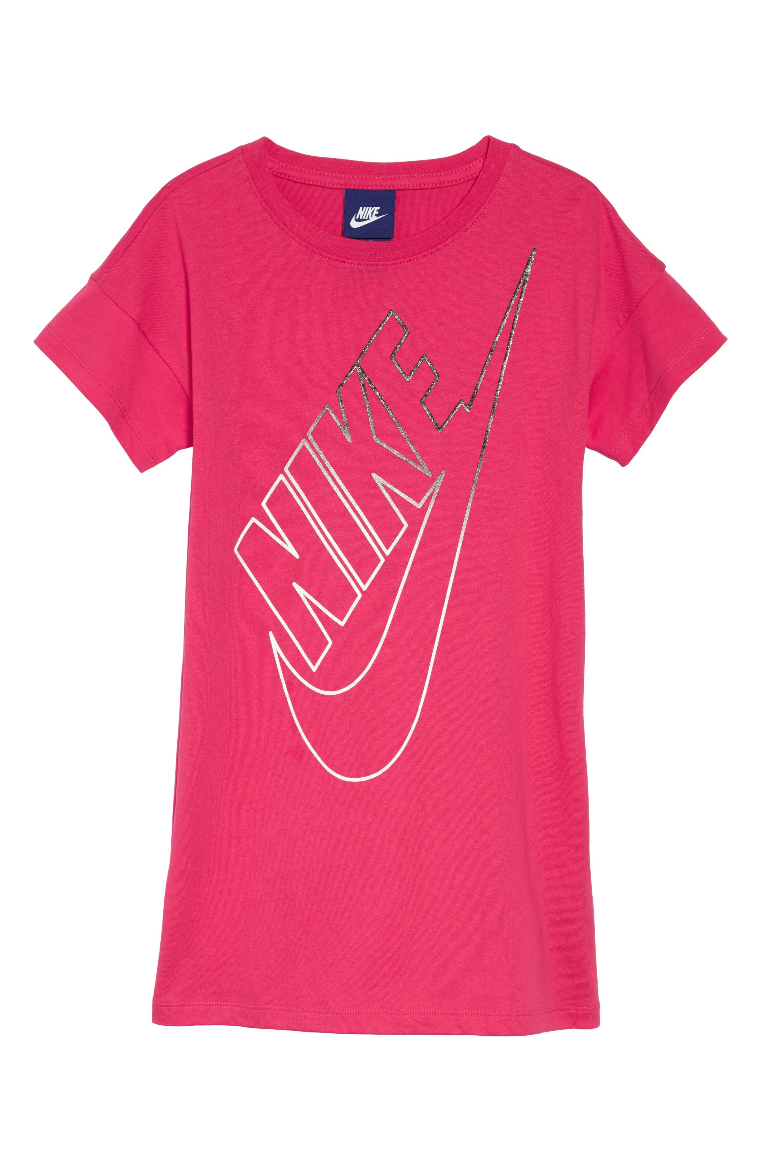 Futura T-Shirt Dress,                             Main thumbnail 1, color,                             Rush Pink