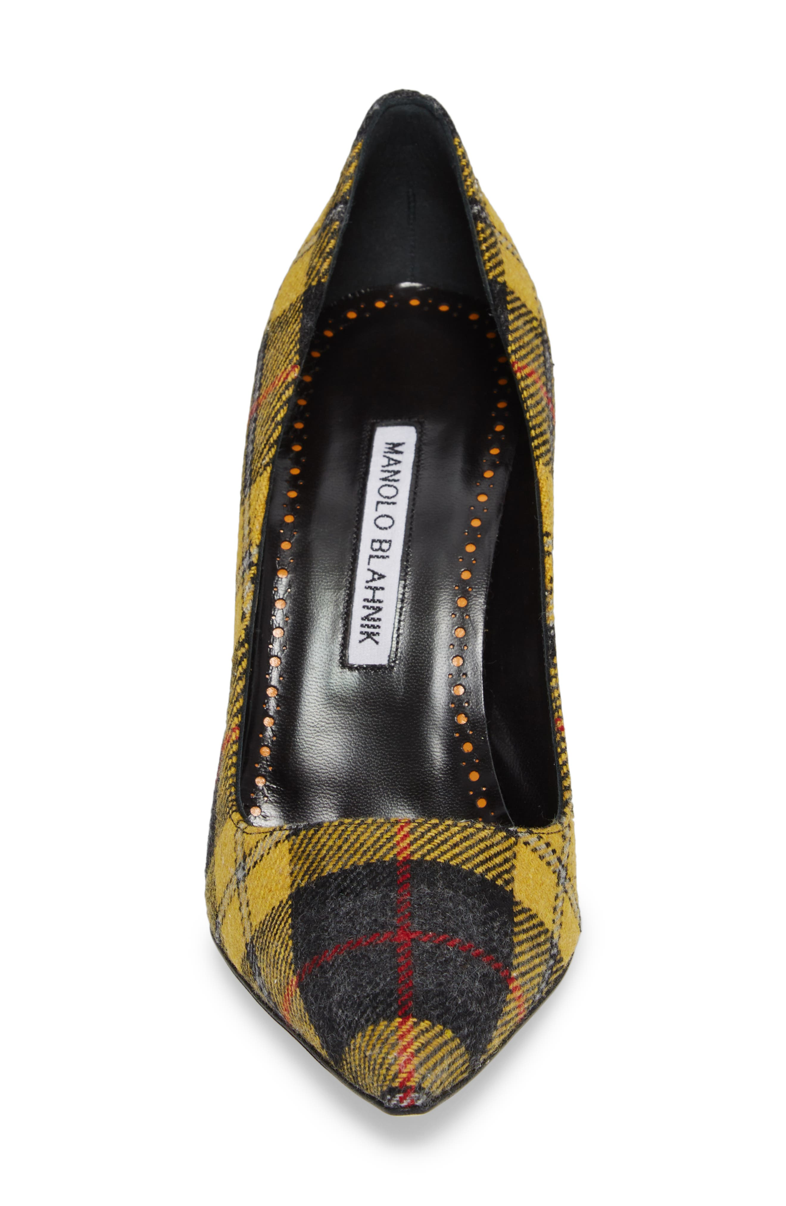 Pointy Toe Pump,                             Alternate thumbnail 4, color,                             Yellow Plaid