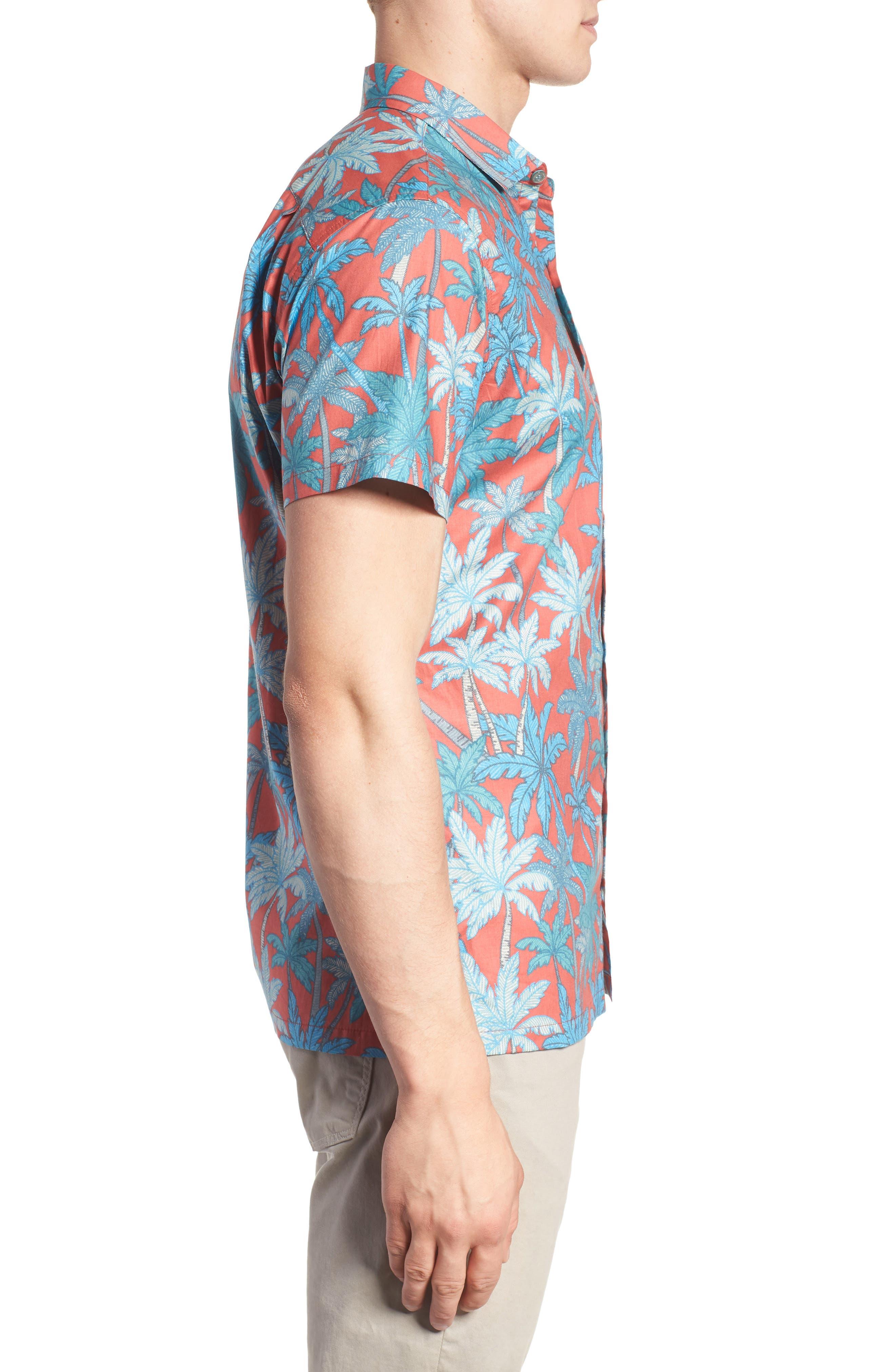 Pick a Palm Trim Fit Camp Shirt,                             Alternate thumbnail 4, color,                             Guava