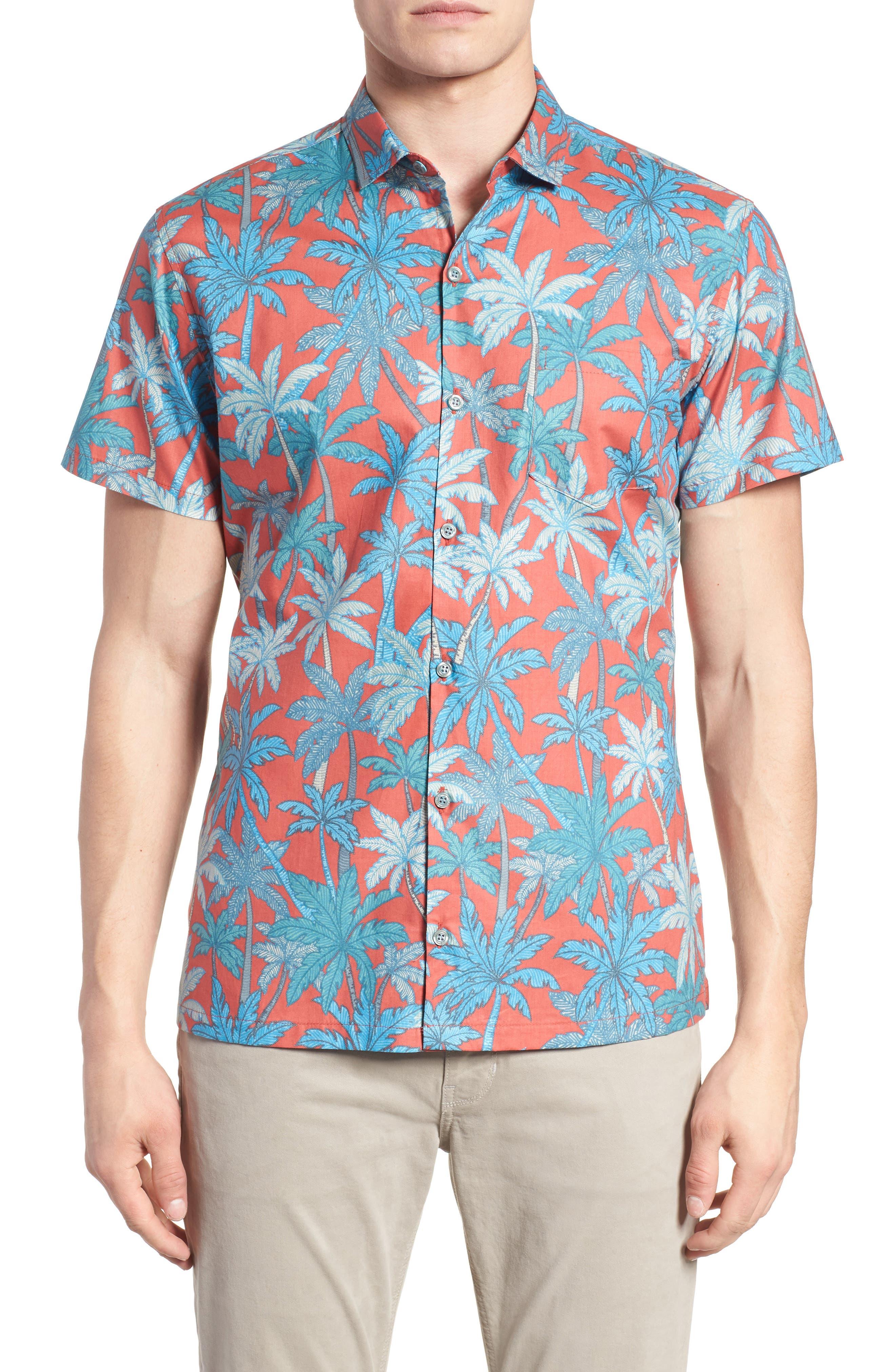 Pick a Palm Trim Fit Camp Shirt,                             Main thumbnail 1, color,                             Guava