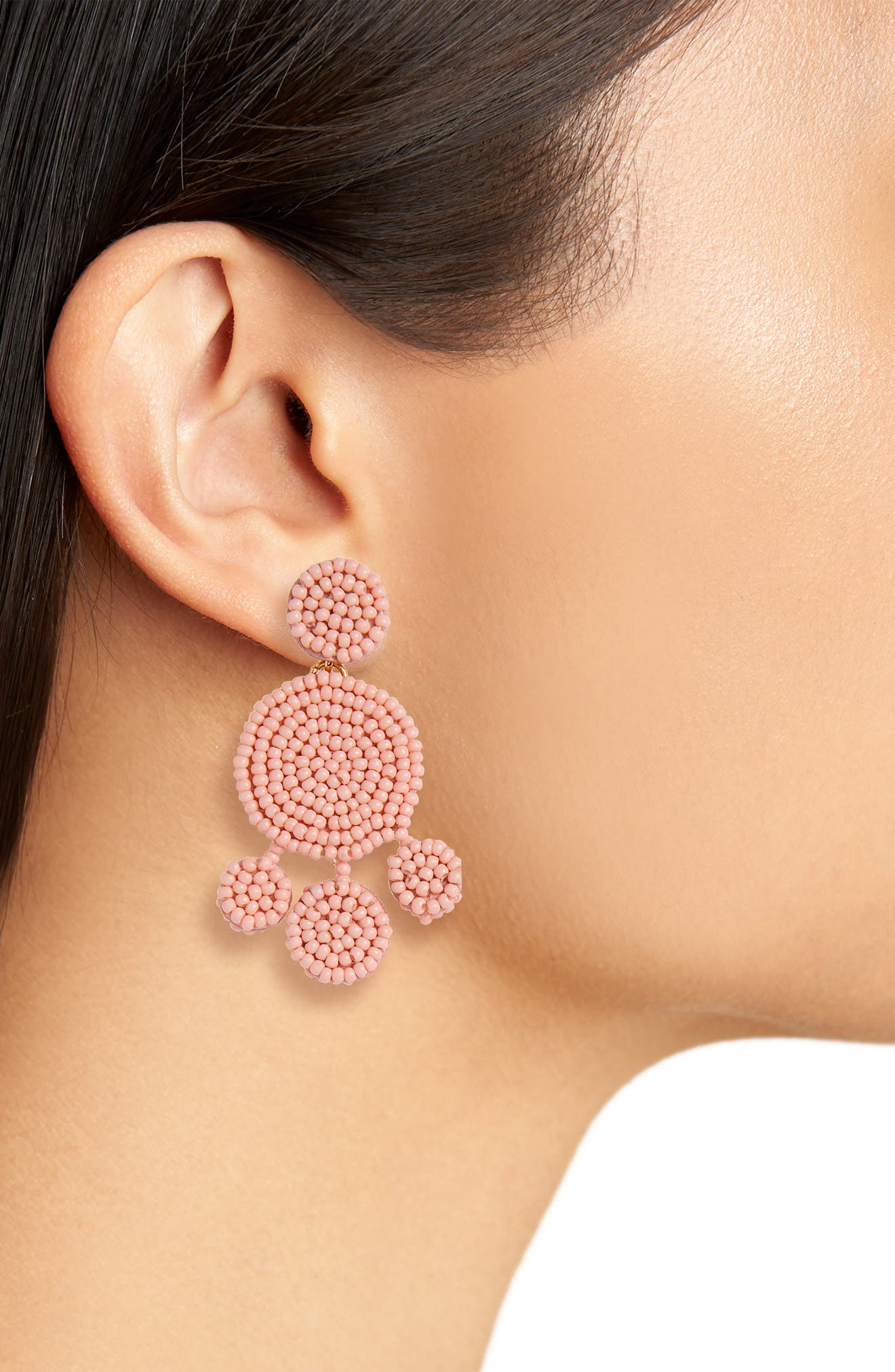 Beaded Disc Chandelier Earrings,                             Alternate thumbnail 2, color,                             Blossom