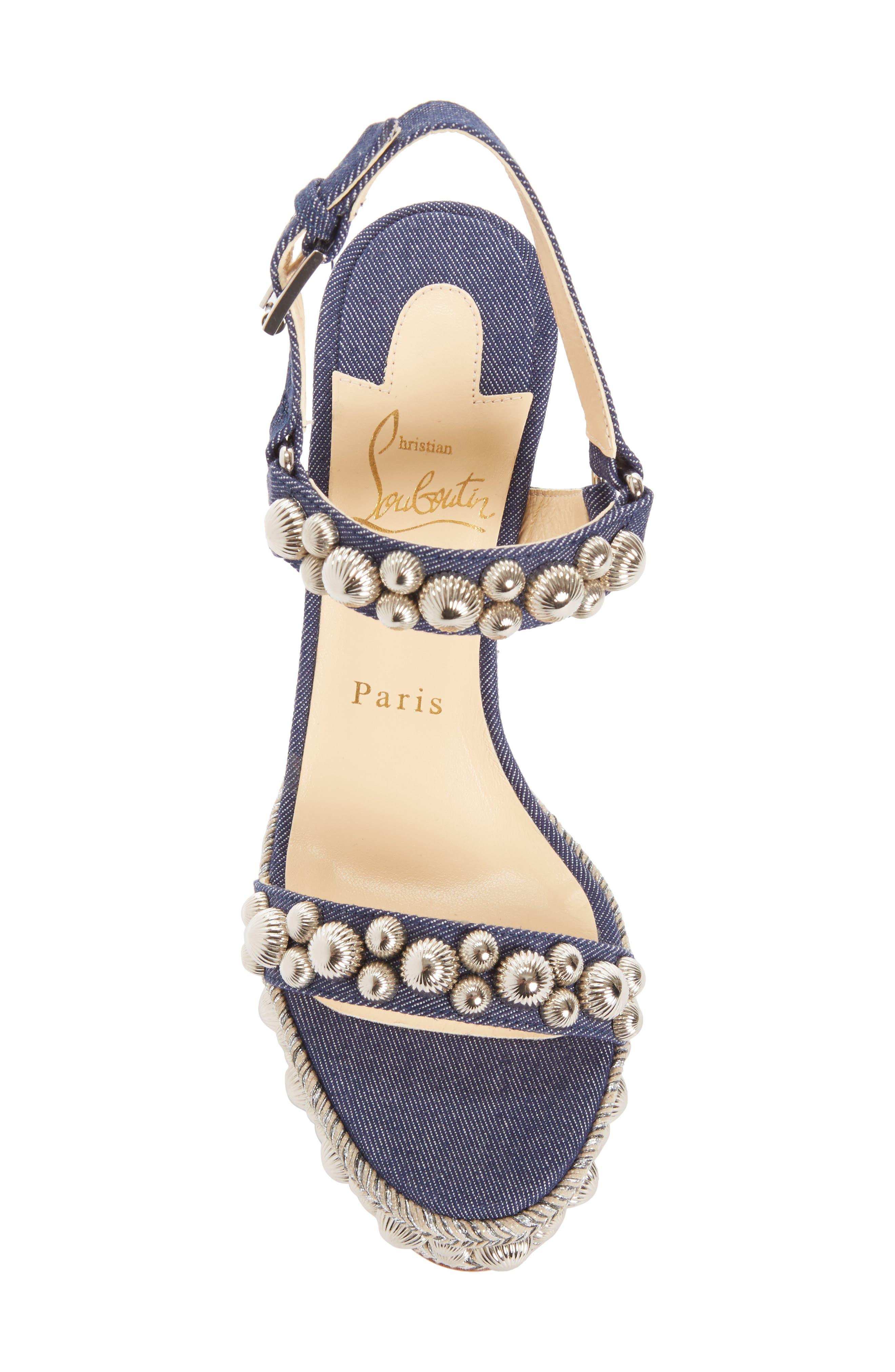 Rondaclou Studded Wedge Sandal,                             Alternate thumbnail 5, color,                             Denim Blue