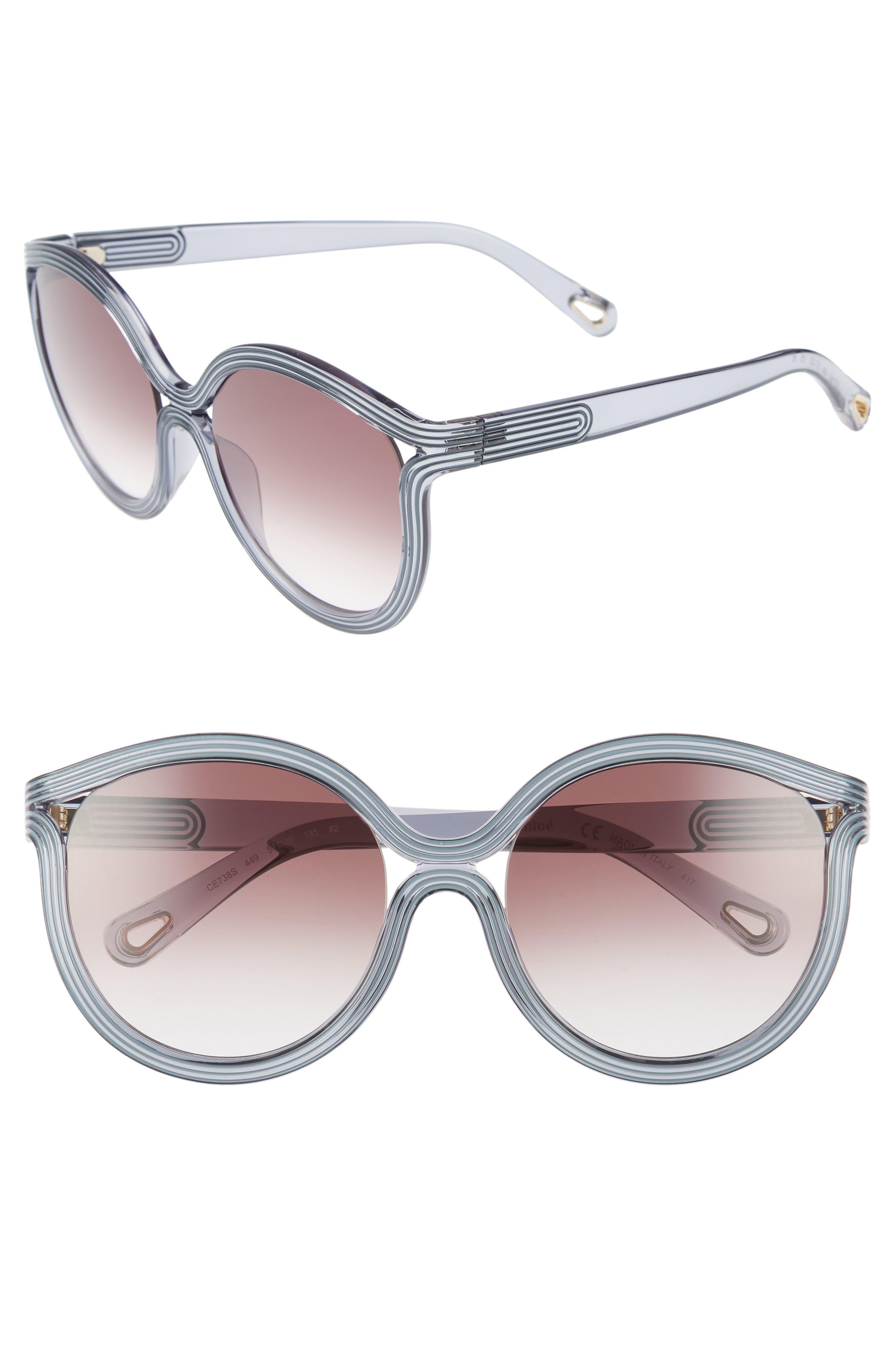 Chloé Grooves 57mm Cat Eye Sunglasses