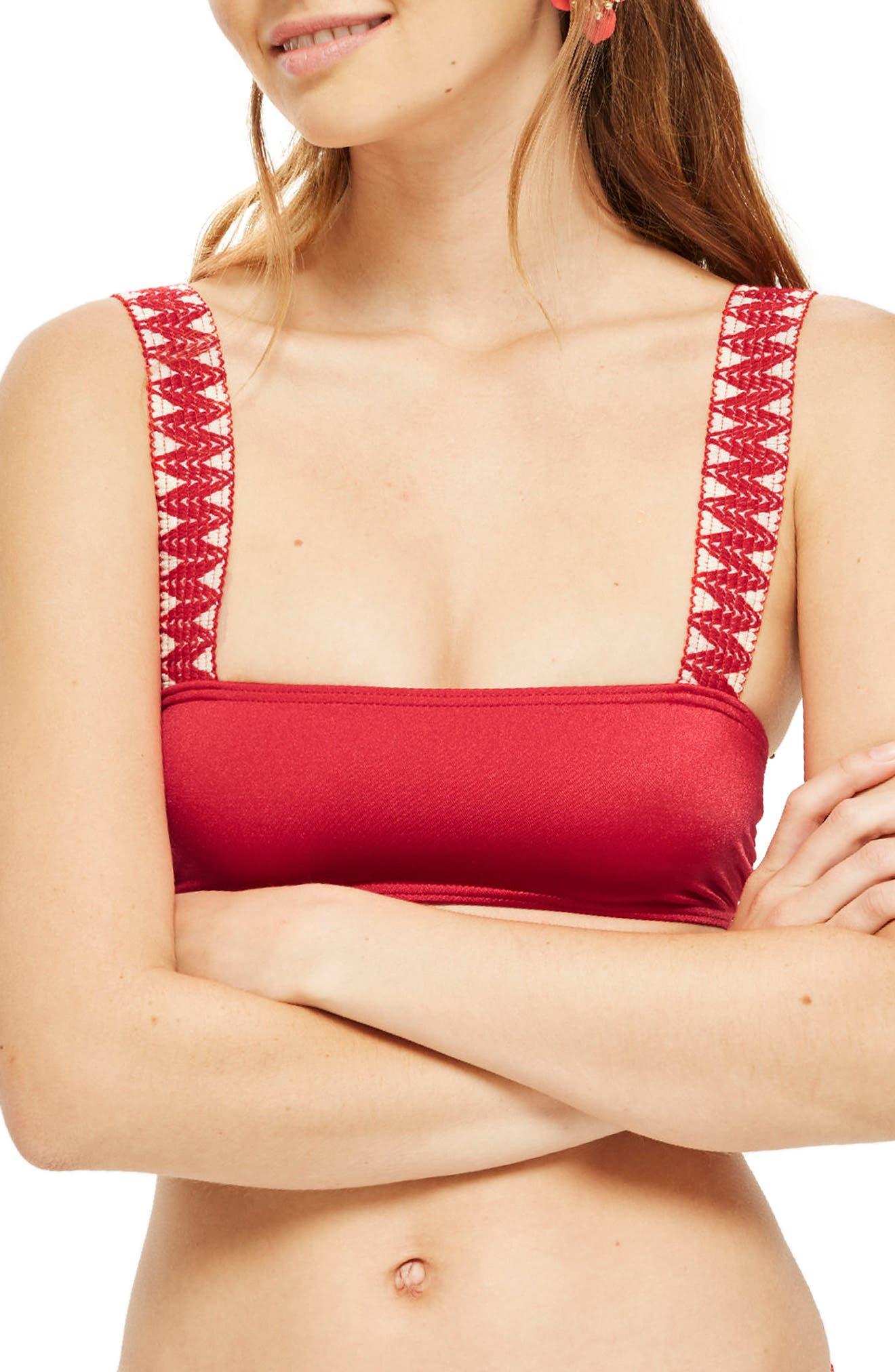 Main Image - Topshop Zigzag Trim Crop Bikini Top