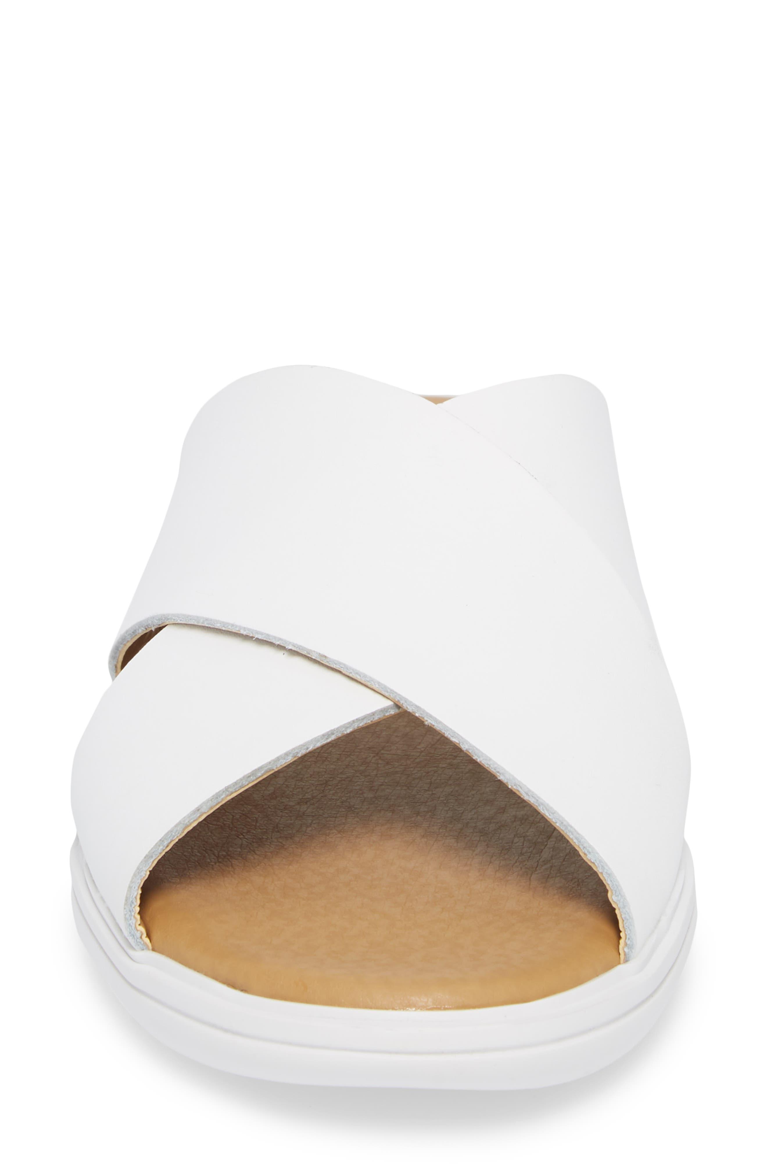 Mahlay Slide Sandal,                             Alternate thumbnail 4, color,                             Optic White Leather