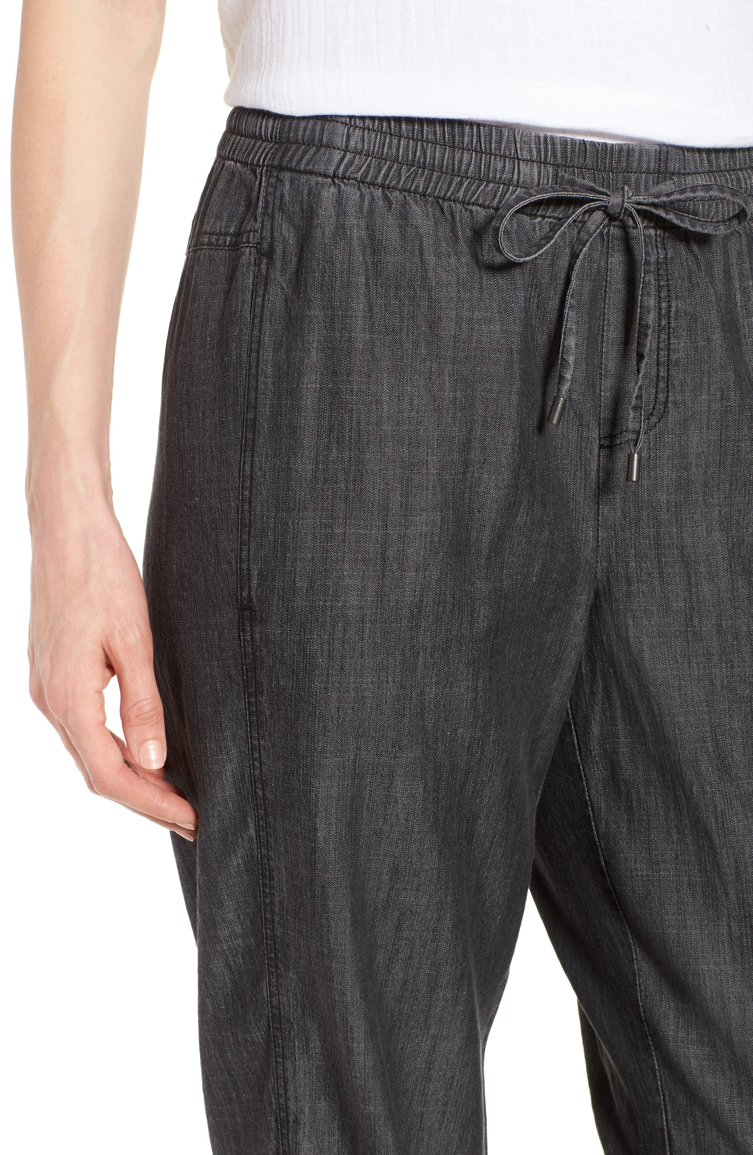 Drawstring Waist Chambray Pants,                             Alternate thumbnail 4, color,                             Black