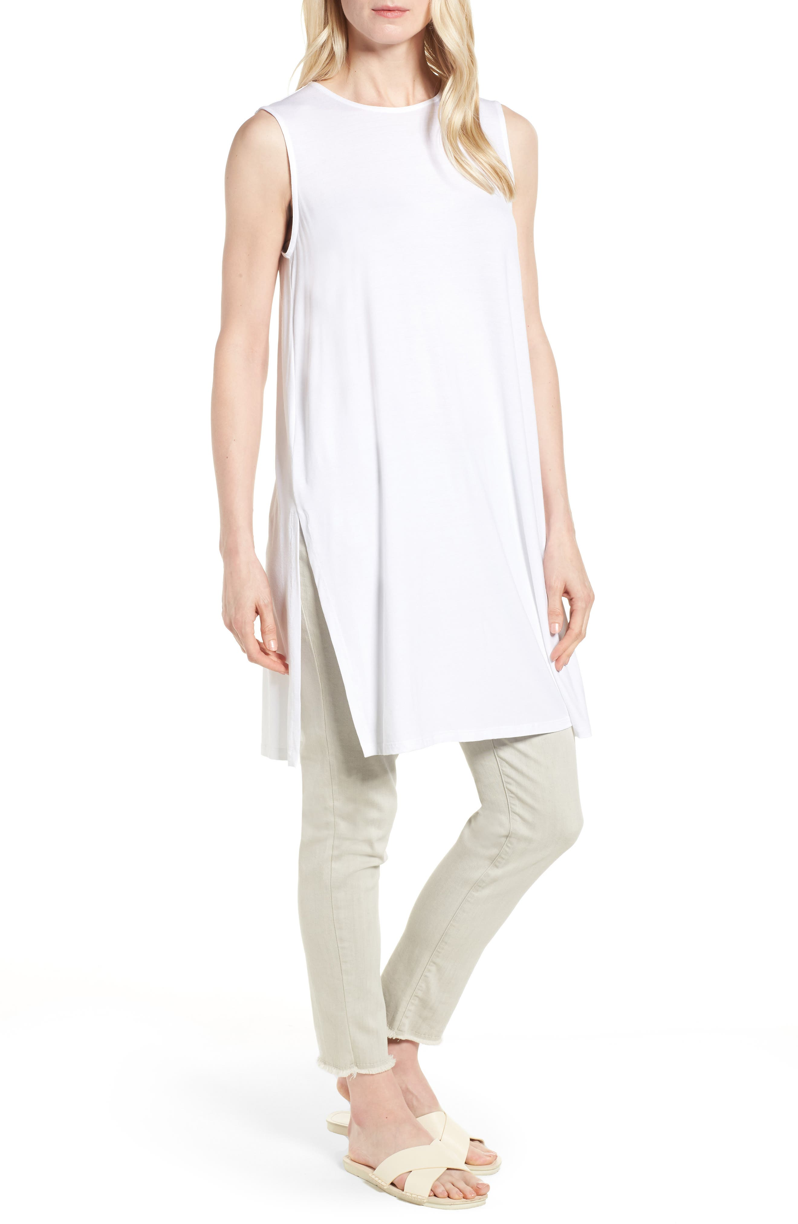 Long Jersey Tunic,                         Main,                         color, White