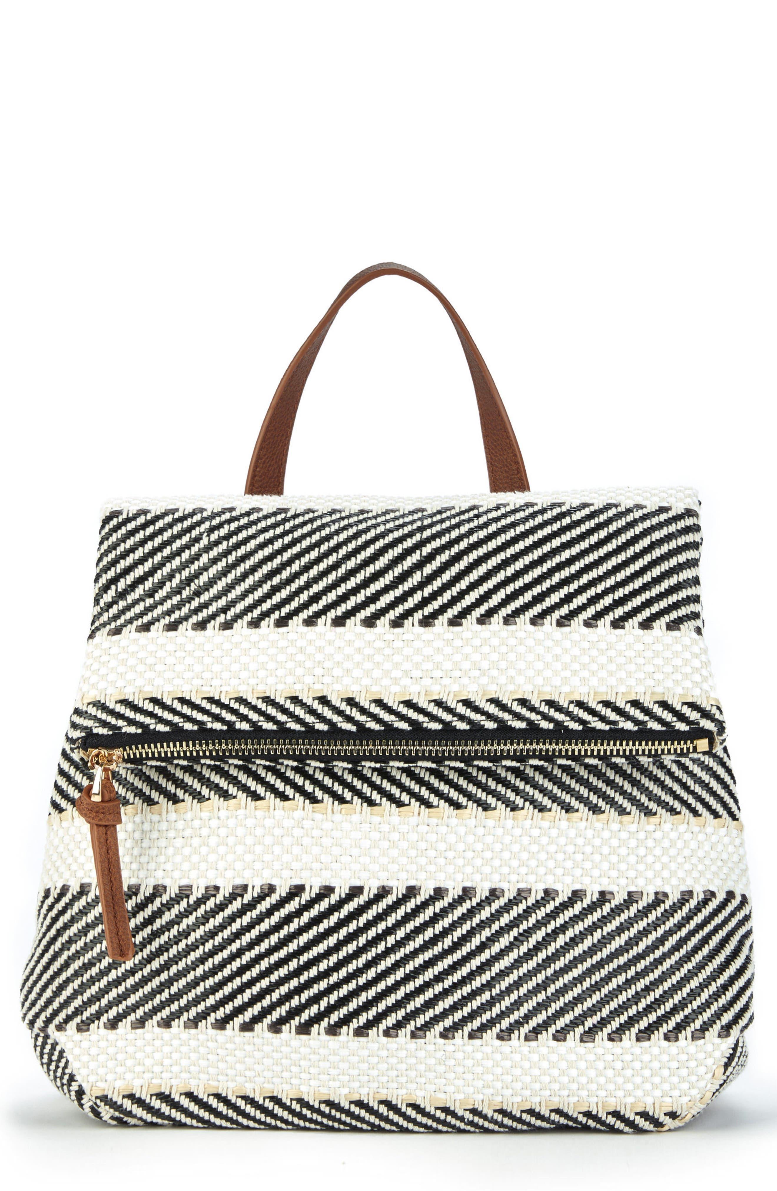 Fabric Backpack,                             Main thumbnail 1, color,                             Black/ Cream