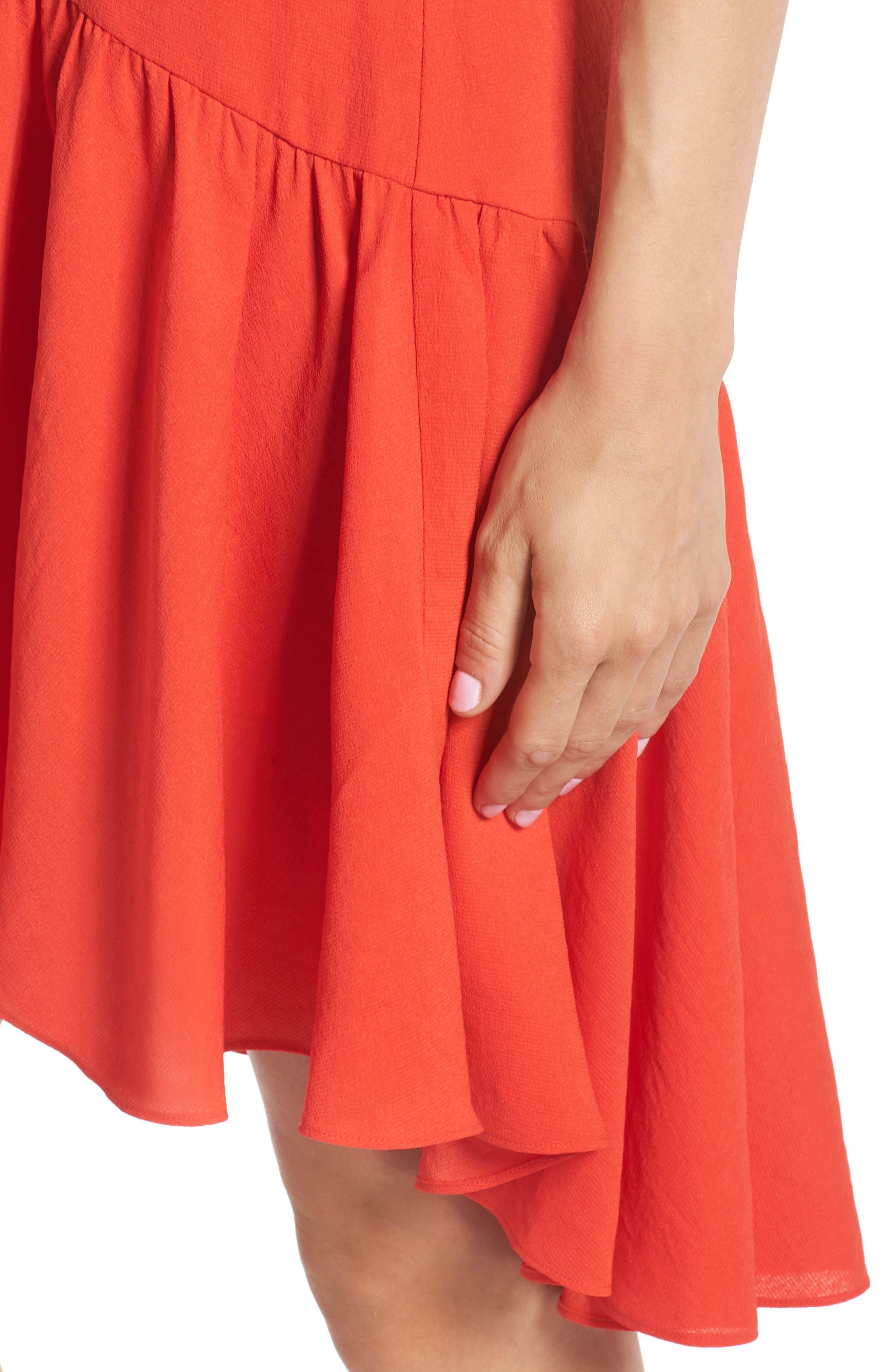 Ruffle Hem Swing Dress,                             Alternate thumbnail 4, color,                             Red Fiery