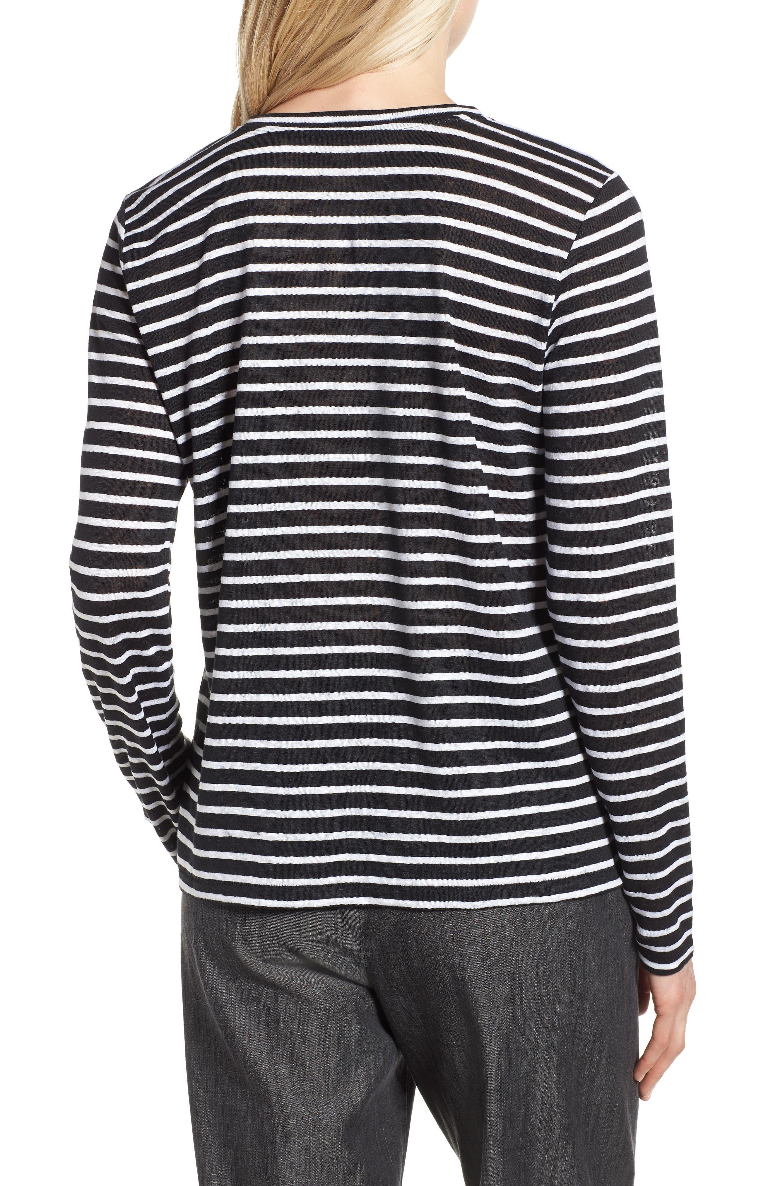 Stripe Organic Linen Top,                             Alternate thumbnail 2, color,                             Black/ White
