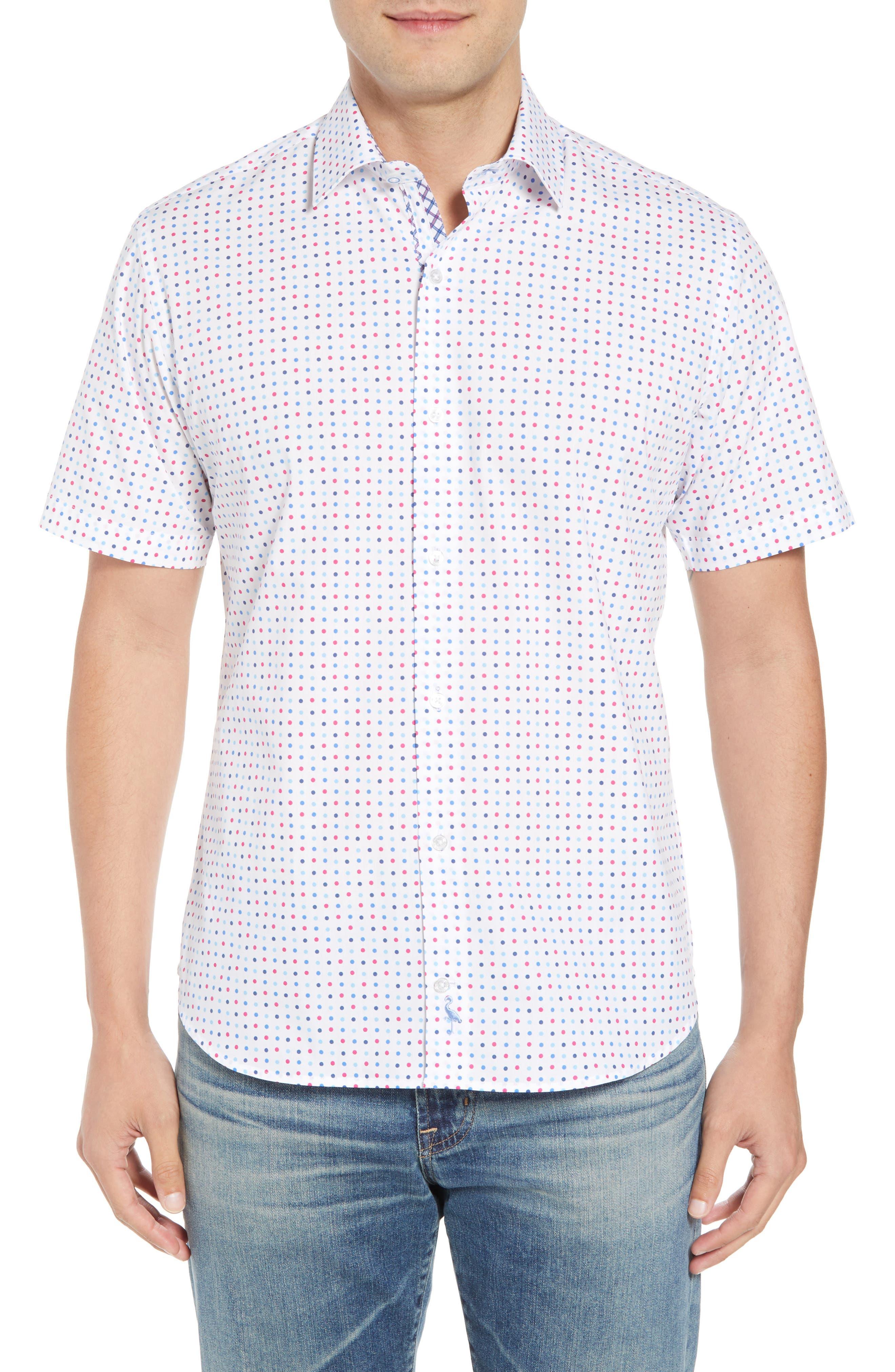 Banning Regular Fit Dot Sport Shirt,                             Main thumbnail 1, color,                             White
